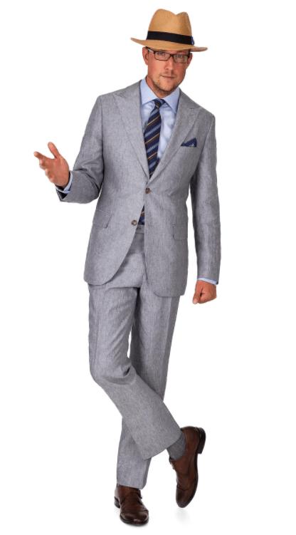 Man Wearing Grey Linen Suit