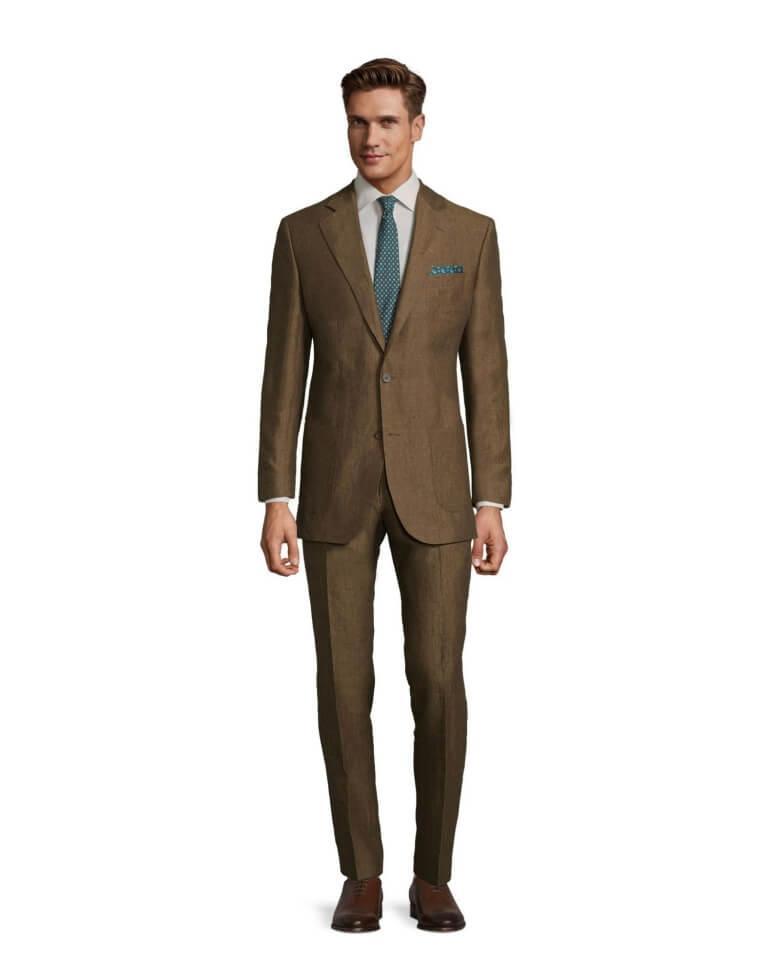 Man Wearing Natural Brown Linen Suit