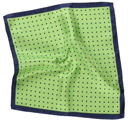 Pocket Square Green Navy Polka Dots