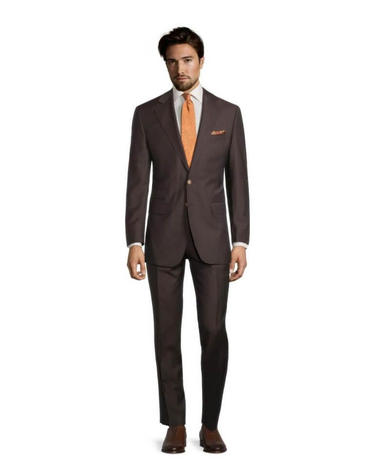man wearing-solid-chocolate-brown-wool-mohair-suit1