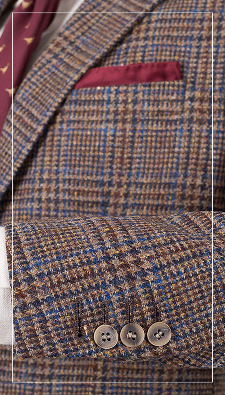 Brown Plaid Shetland Tweed