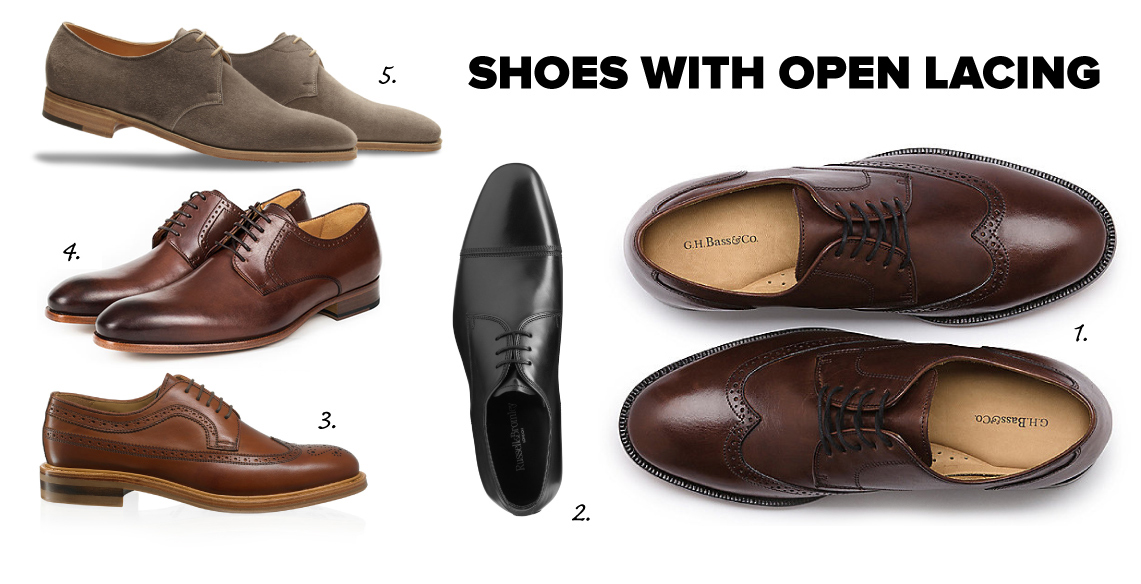 derby shoes with open lacing