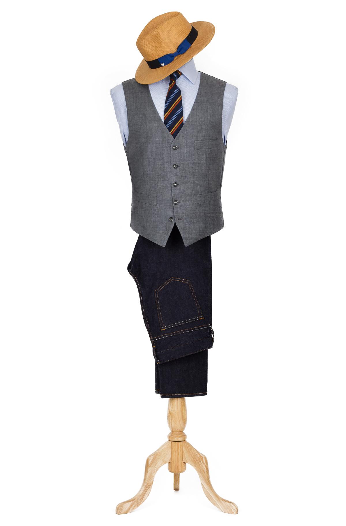grey vest look
