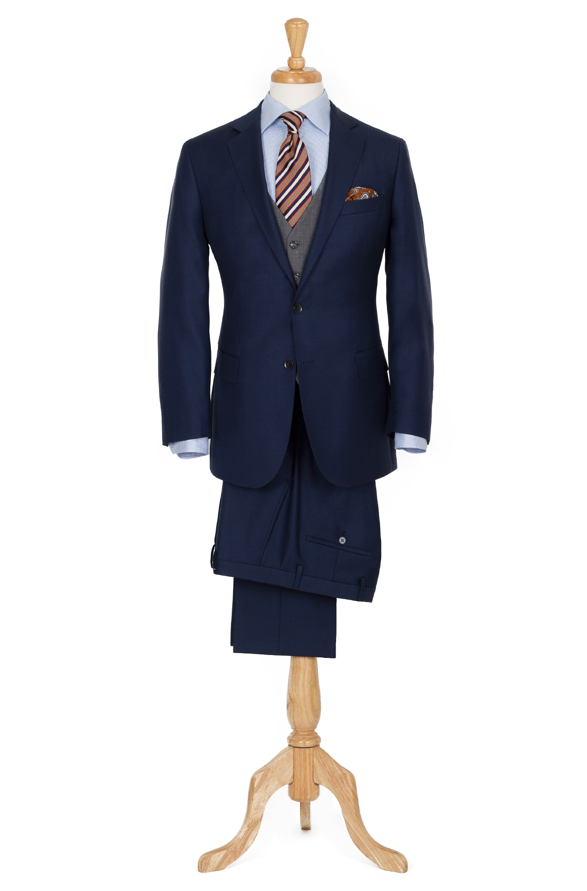 navy suit with grey vest look