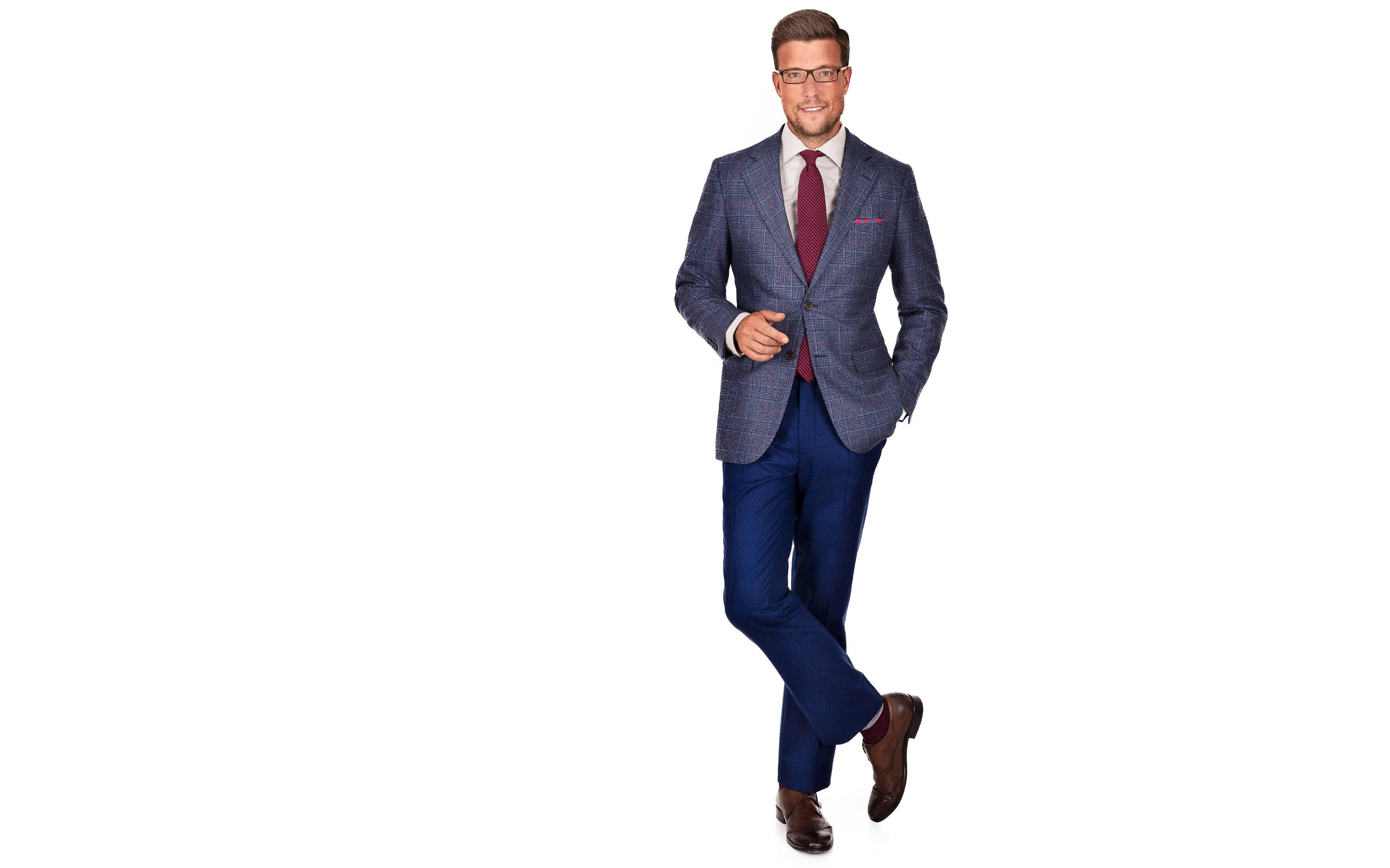 Blue Plaid Wool & Cashmere Blazer