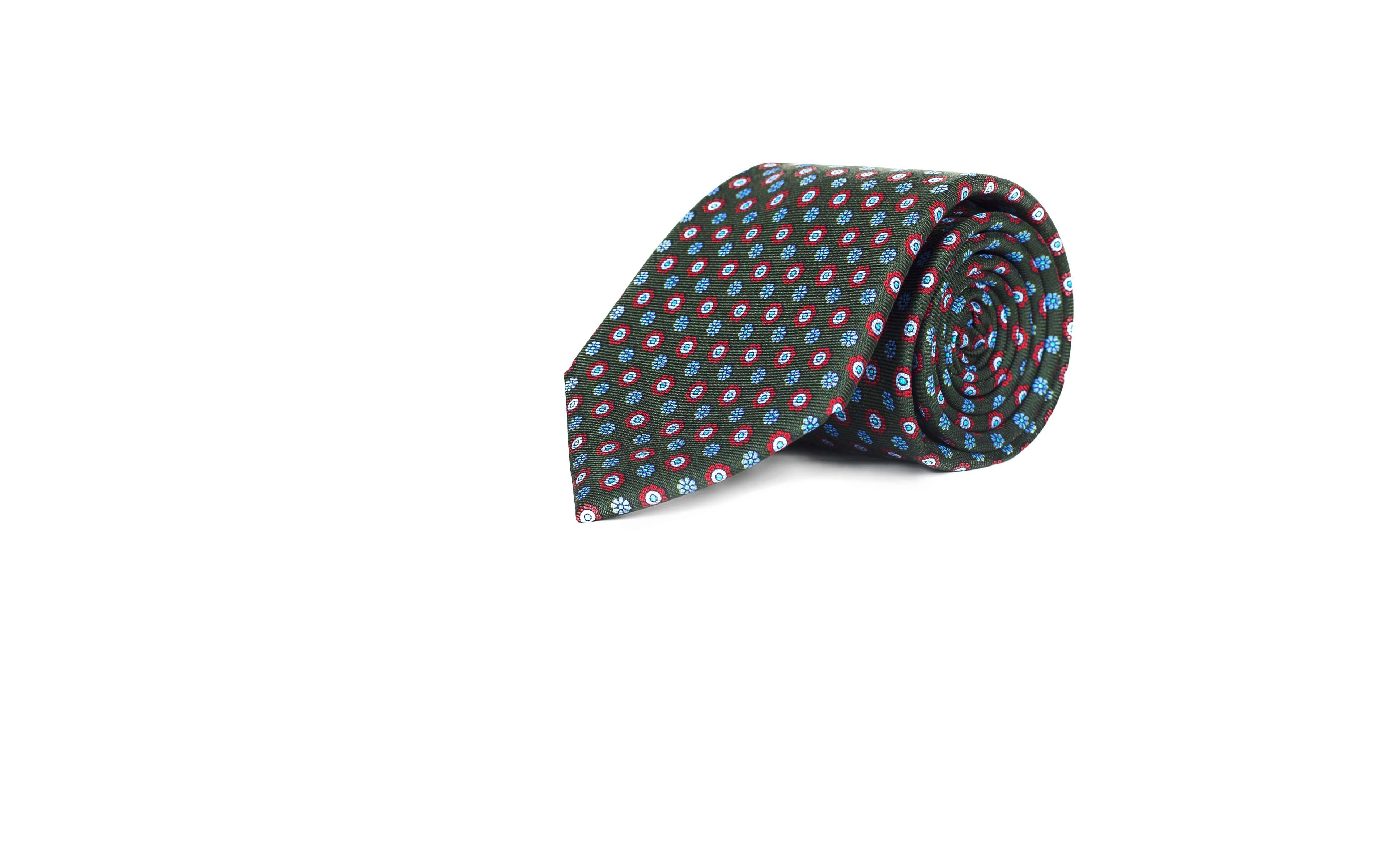 Green Floral 28 Momme Silk Tie