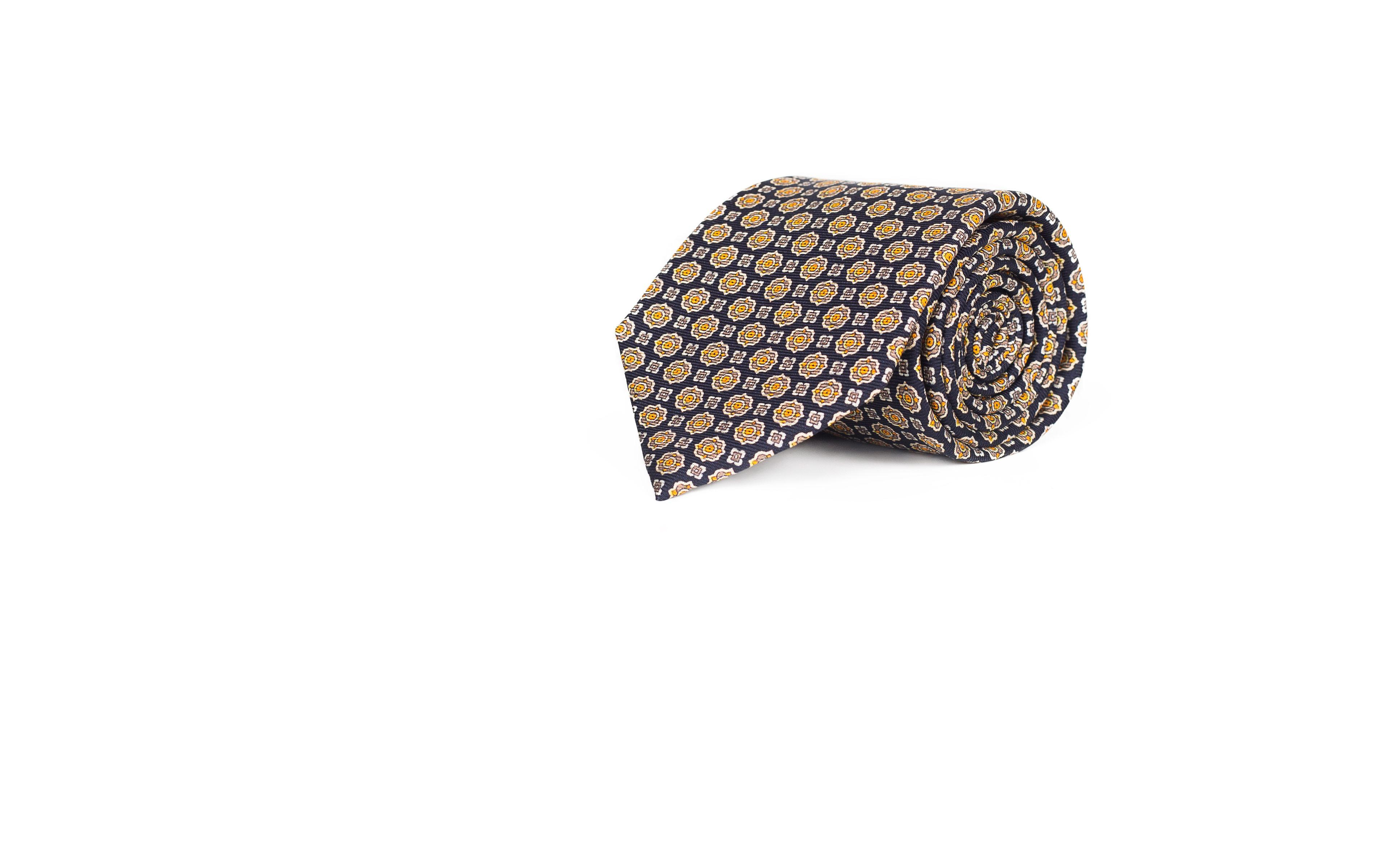 Navy & Bronze 28 Momme Silk Tie