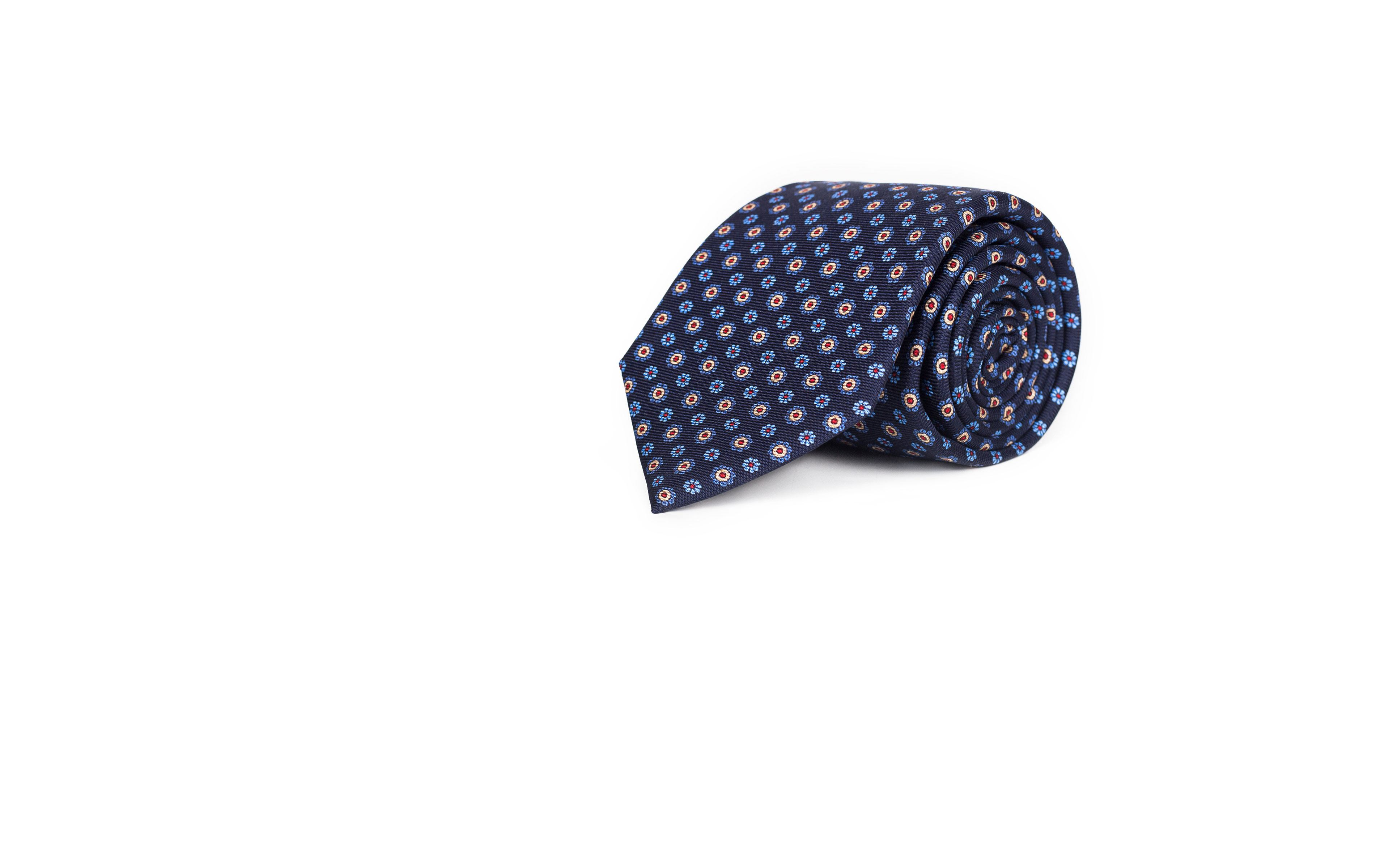 Blue & Blue Floral 28 Momme Silk Tie