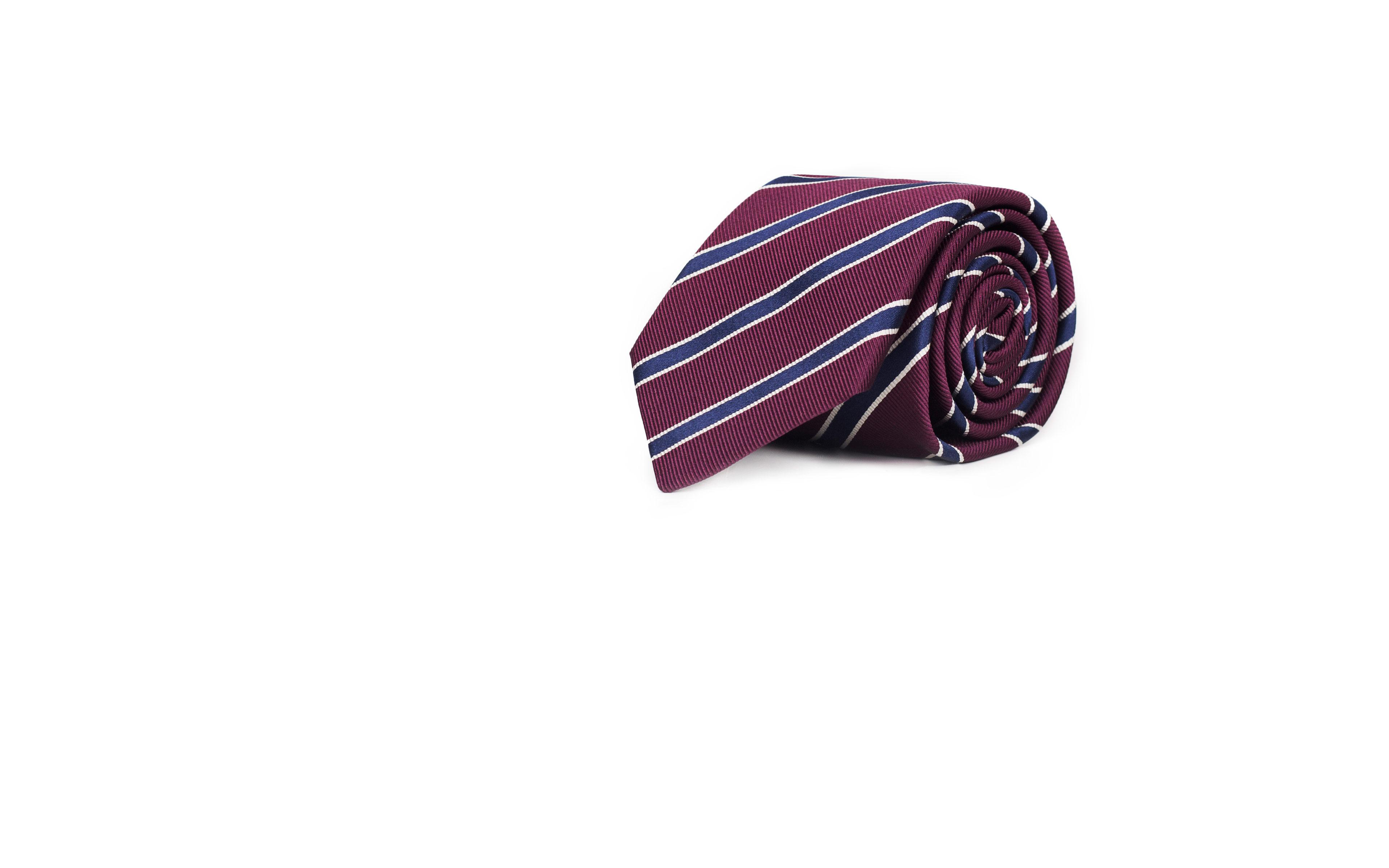 Blue Striped Burgundy Mogador Silk Tie