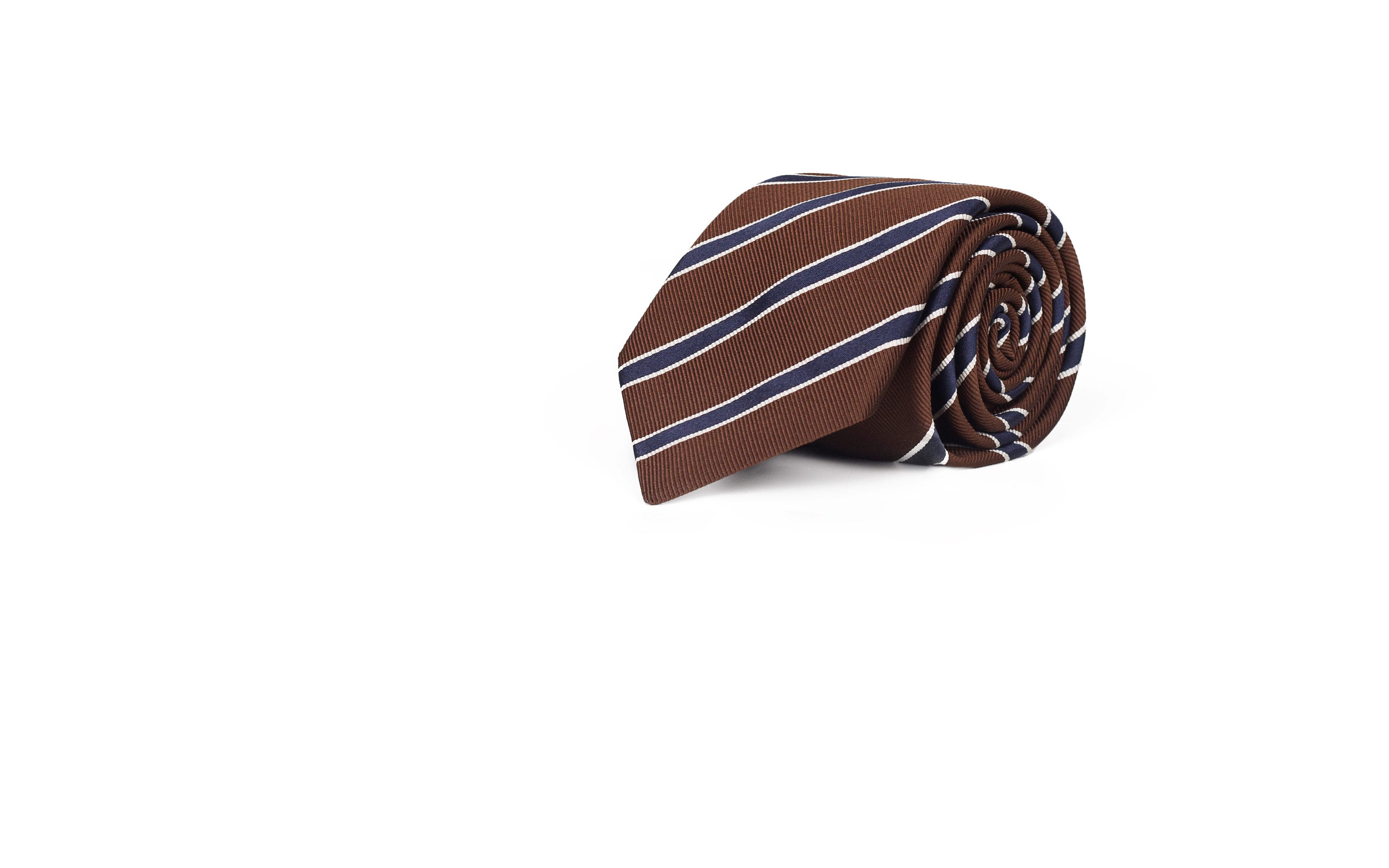 Blue Striped Brown Mogador Silk Tie