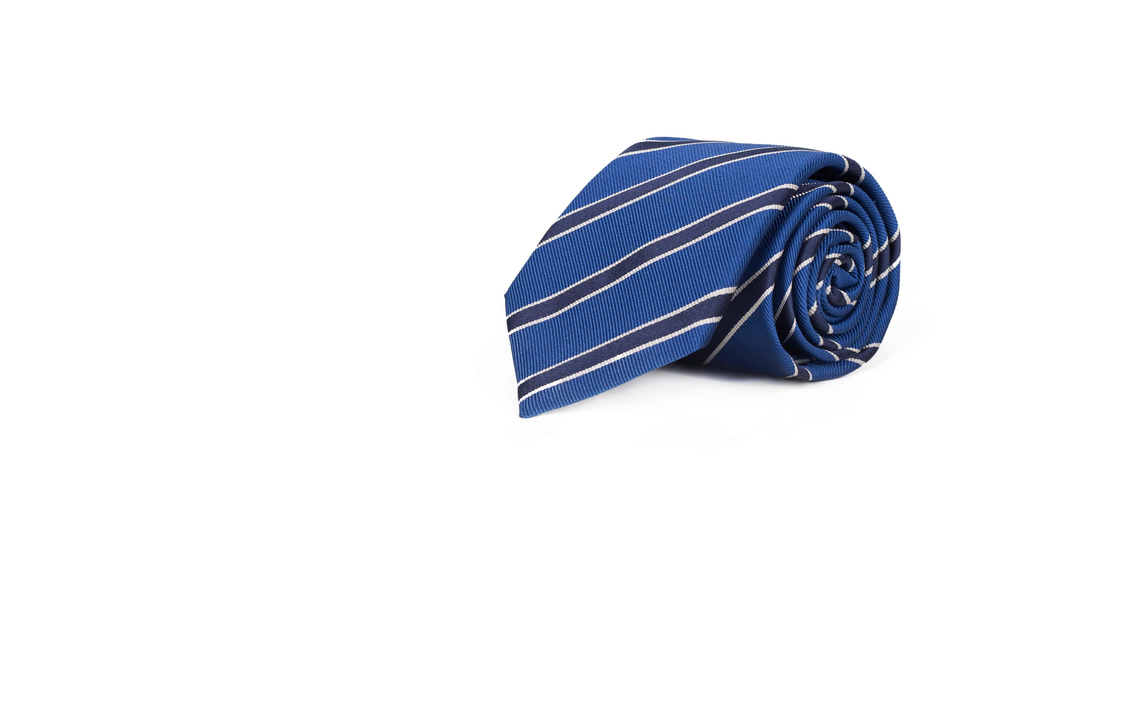 Navy Striped Blue Mogador Silk Tie