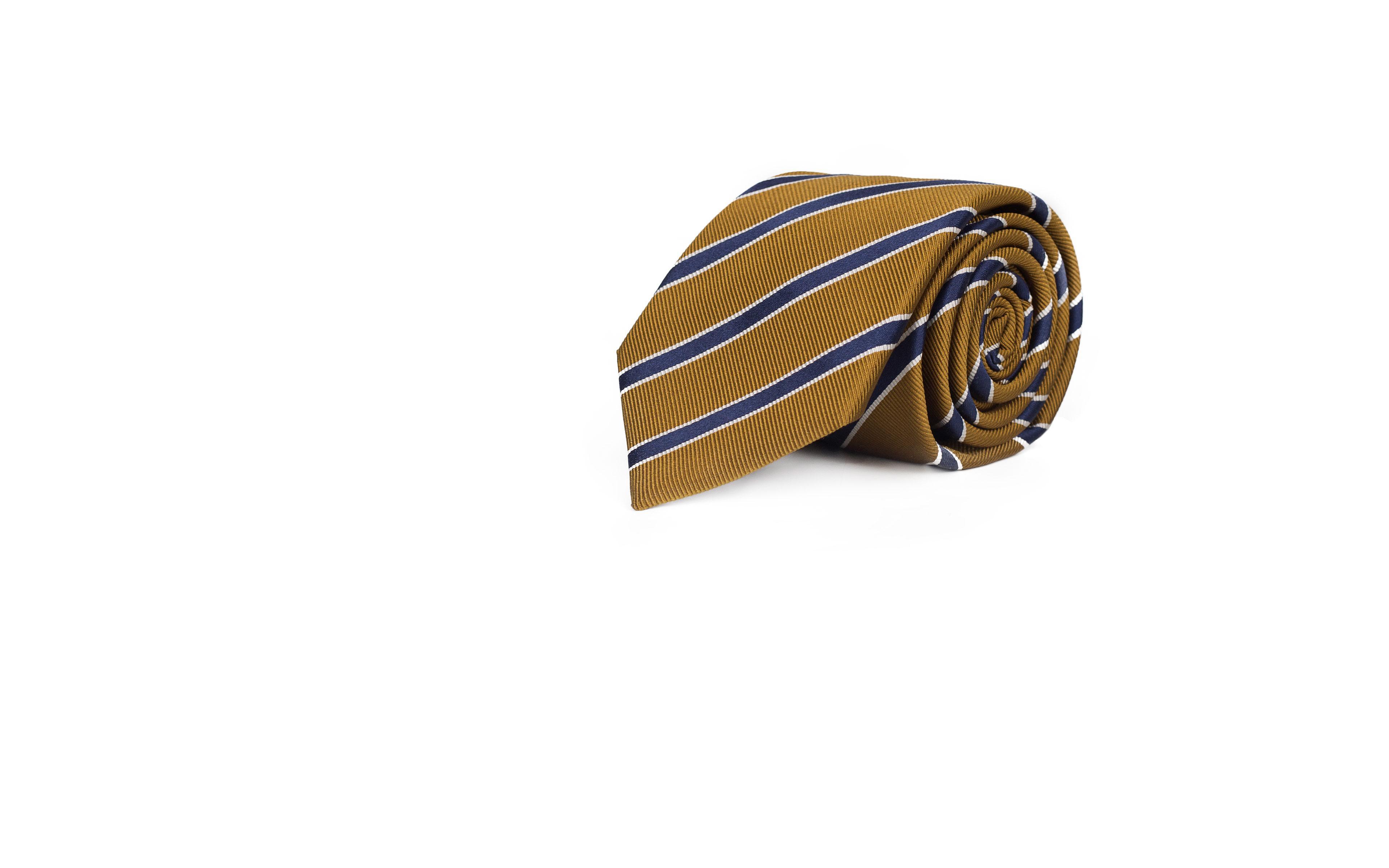 Navy Striped Mustard Mogador Silk Tie