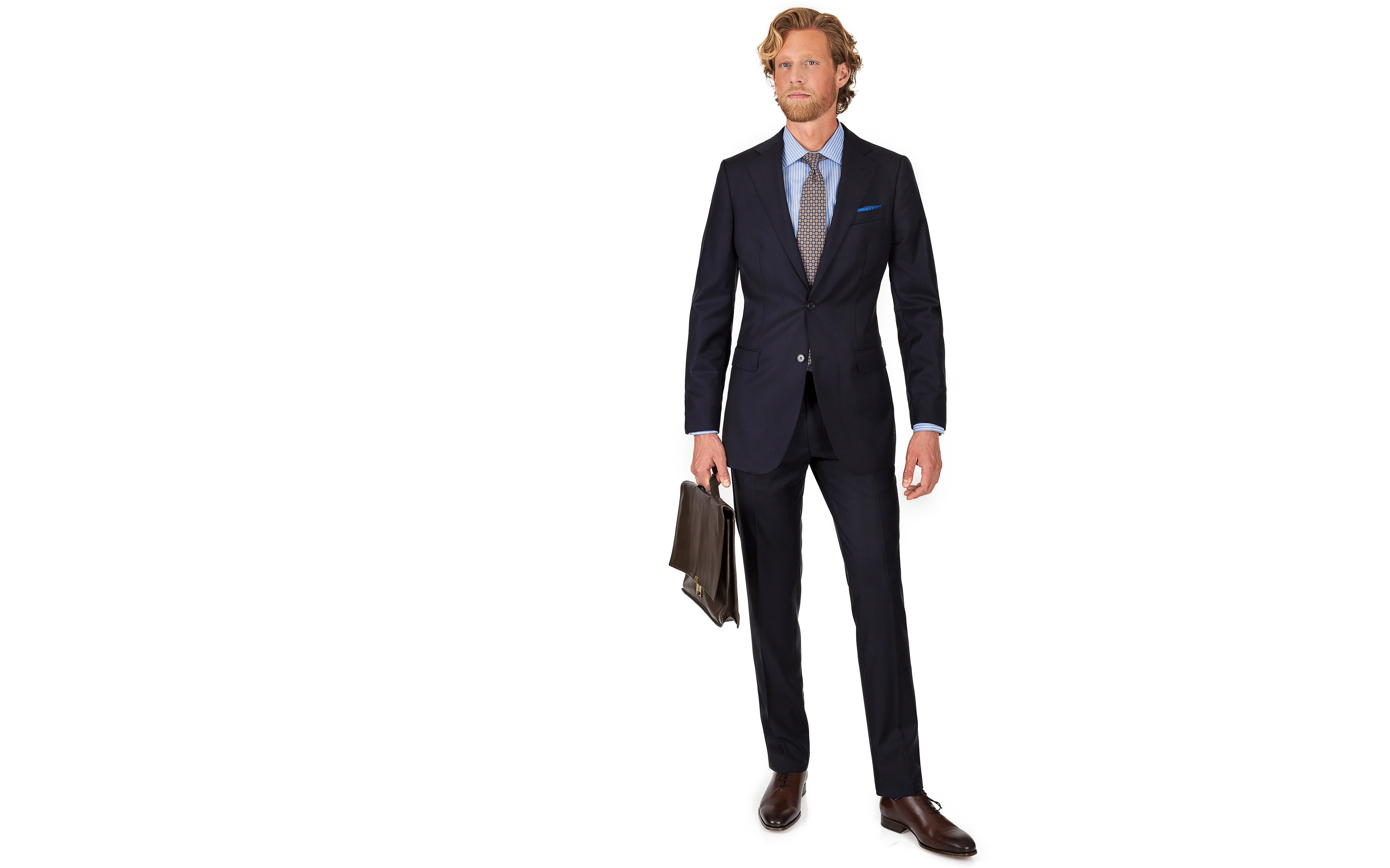 Suit in Dark Navy Wool