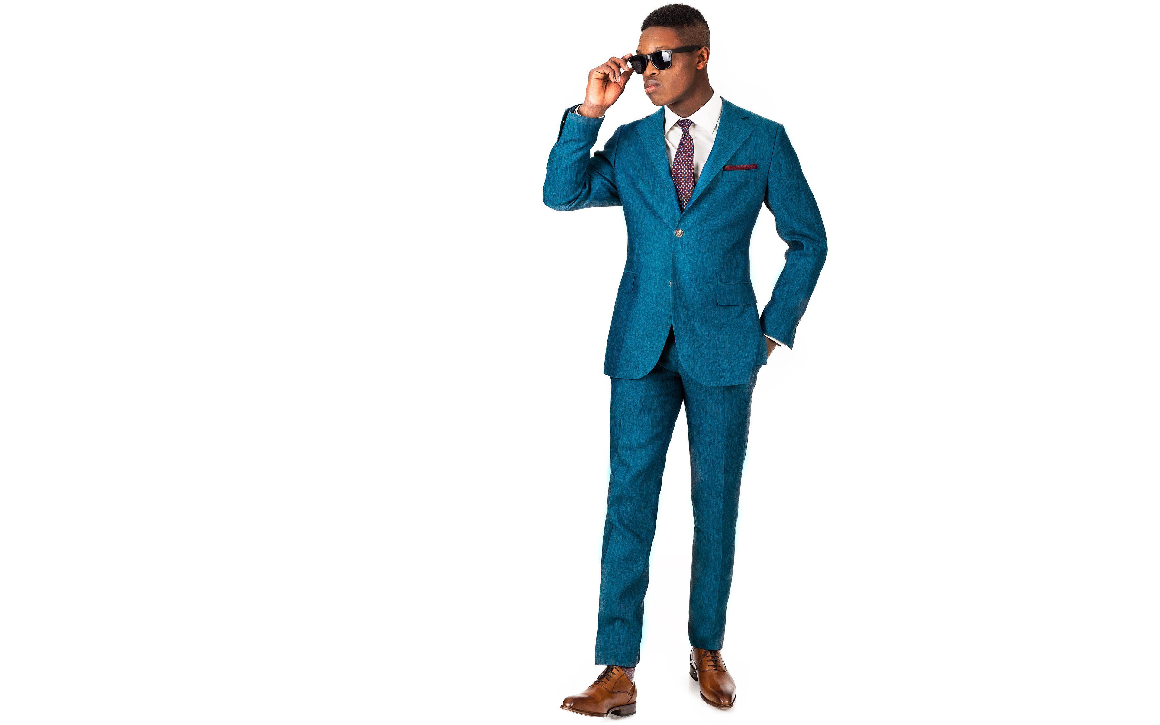 Teal Linen Suit