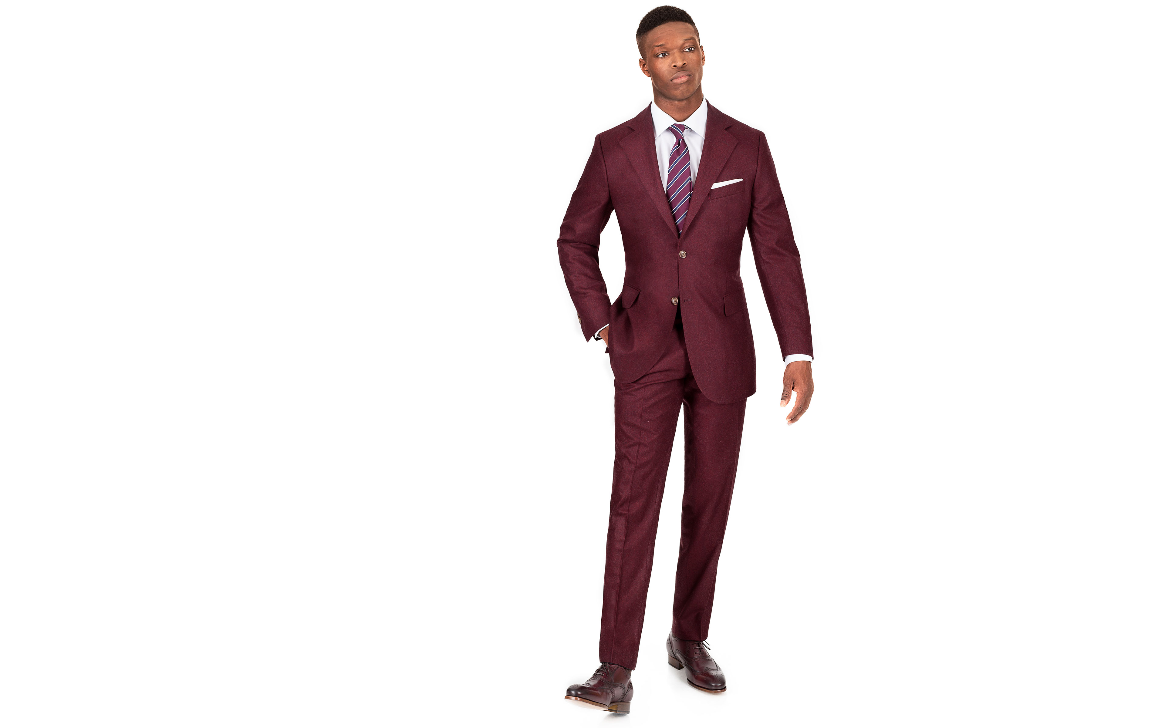 Burgundy Wool Flannel Suit