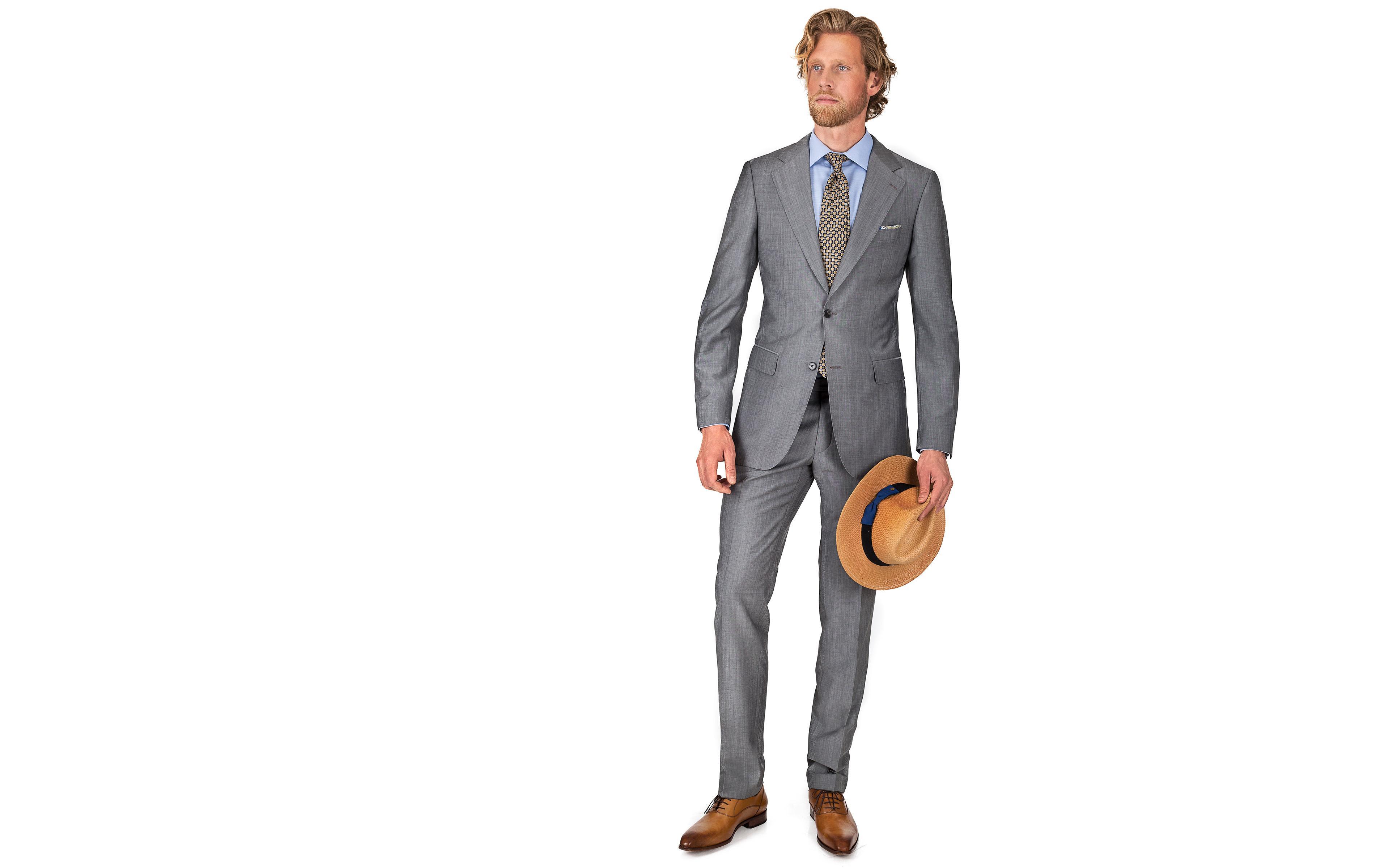 Suit in Light Grey Wool & Mohair