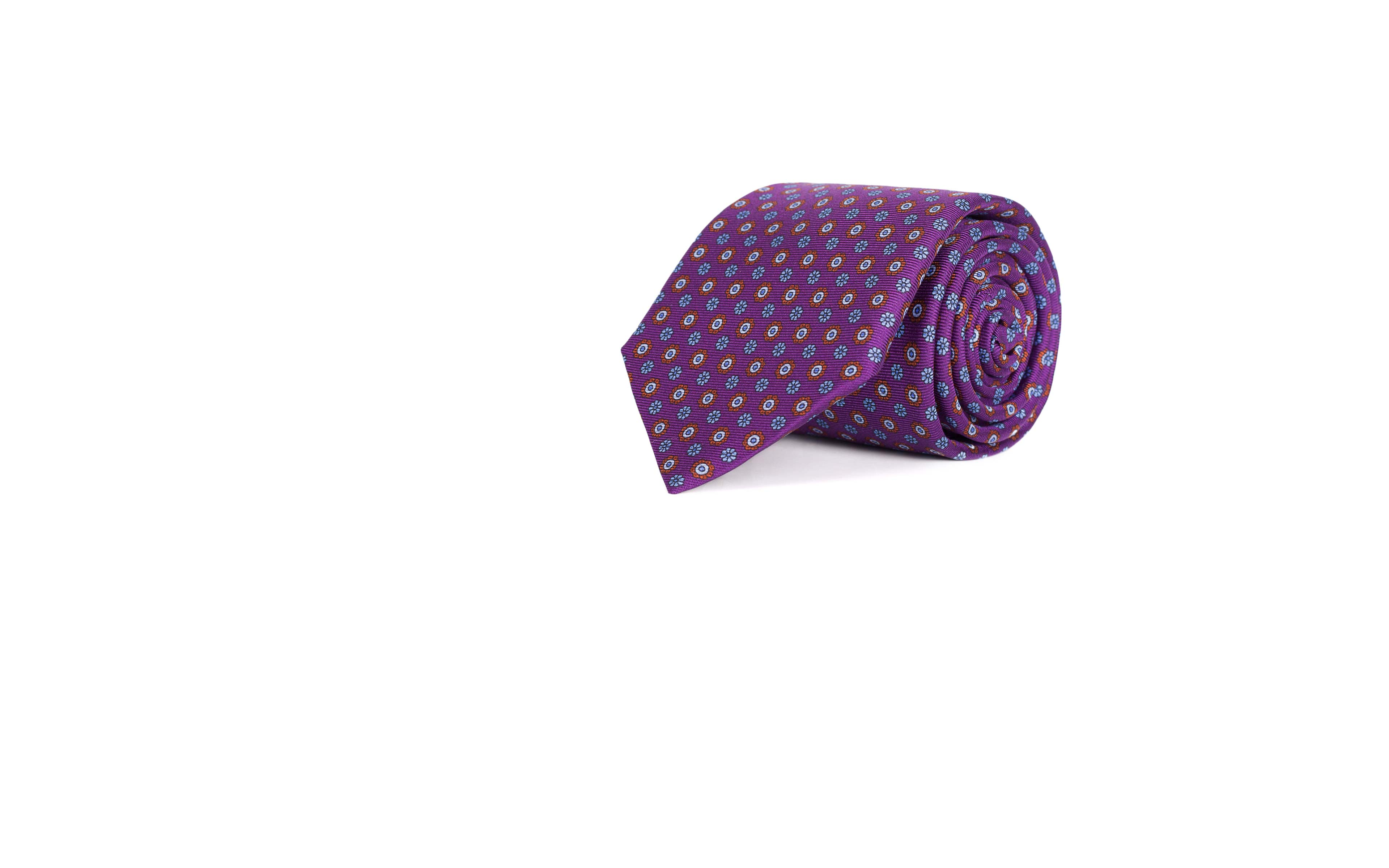 Purple Floral 28 Momme Silk Tie