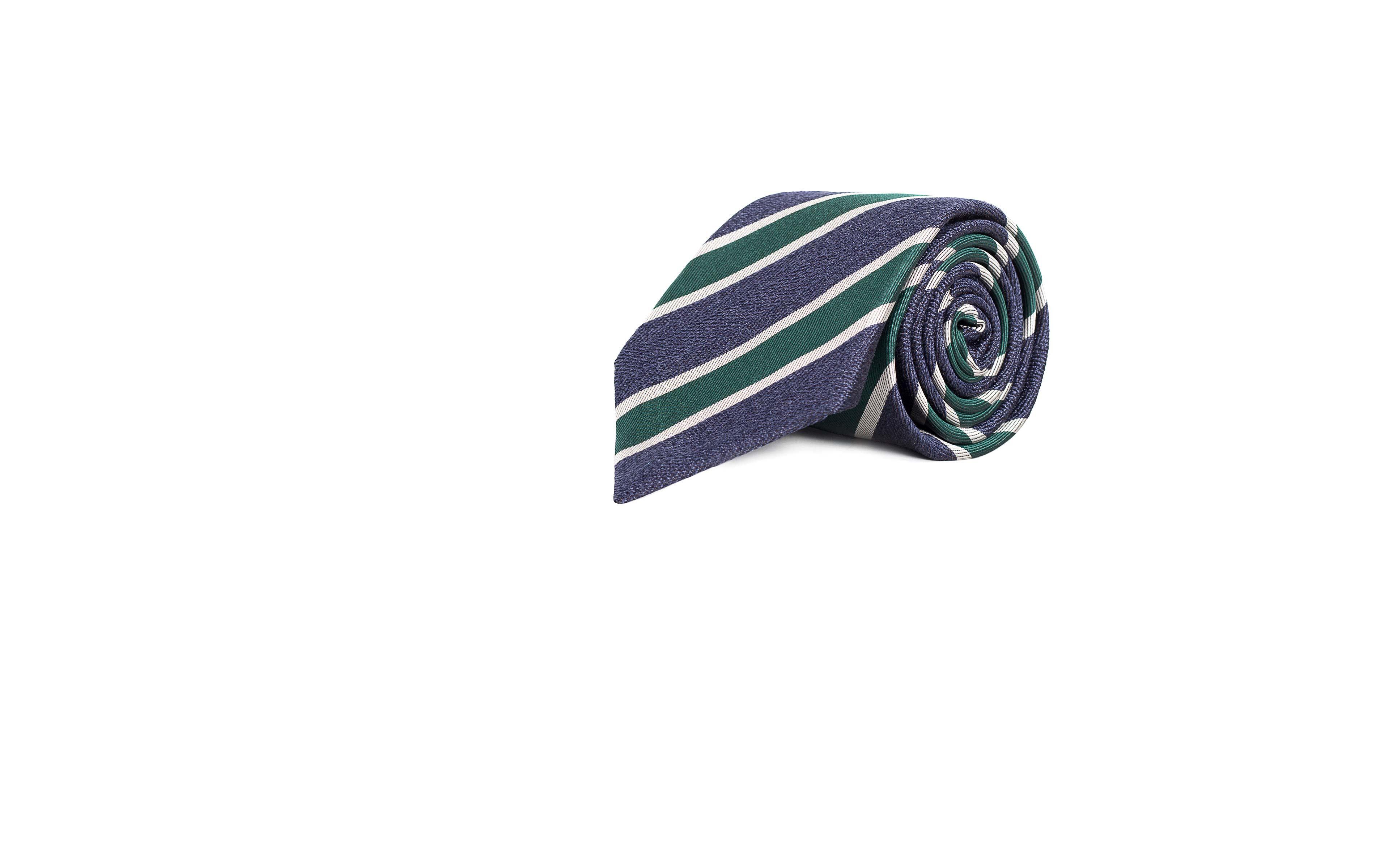 Navy & Green Silk Tie