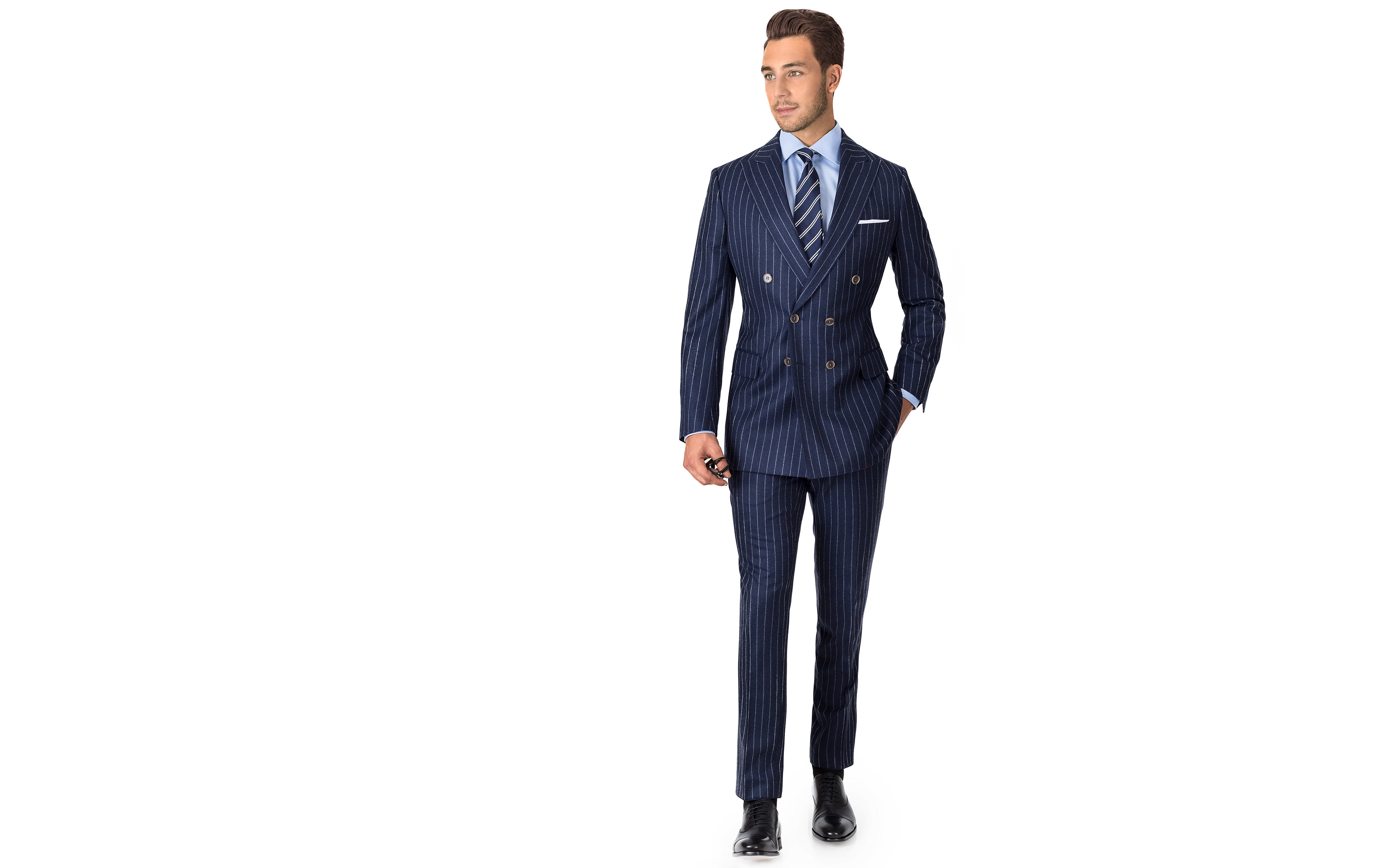 Blue Chalkstripe Wool Flannel Suit