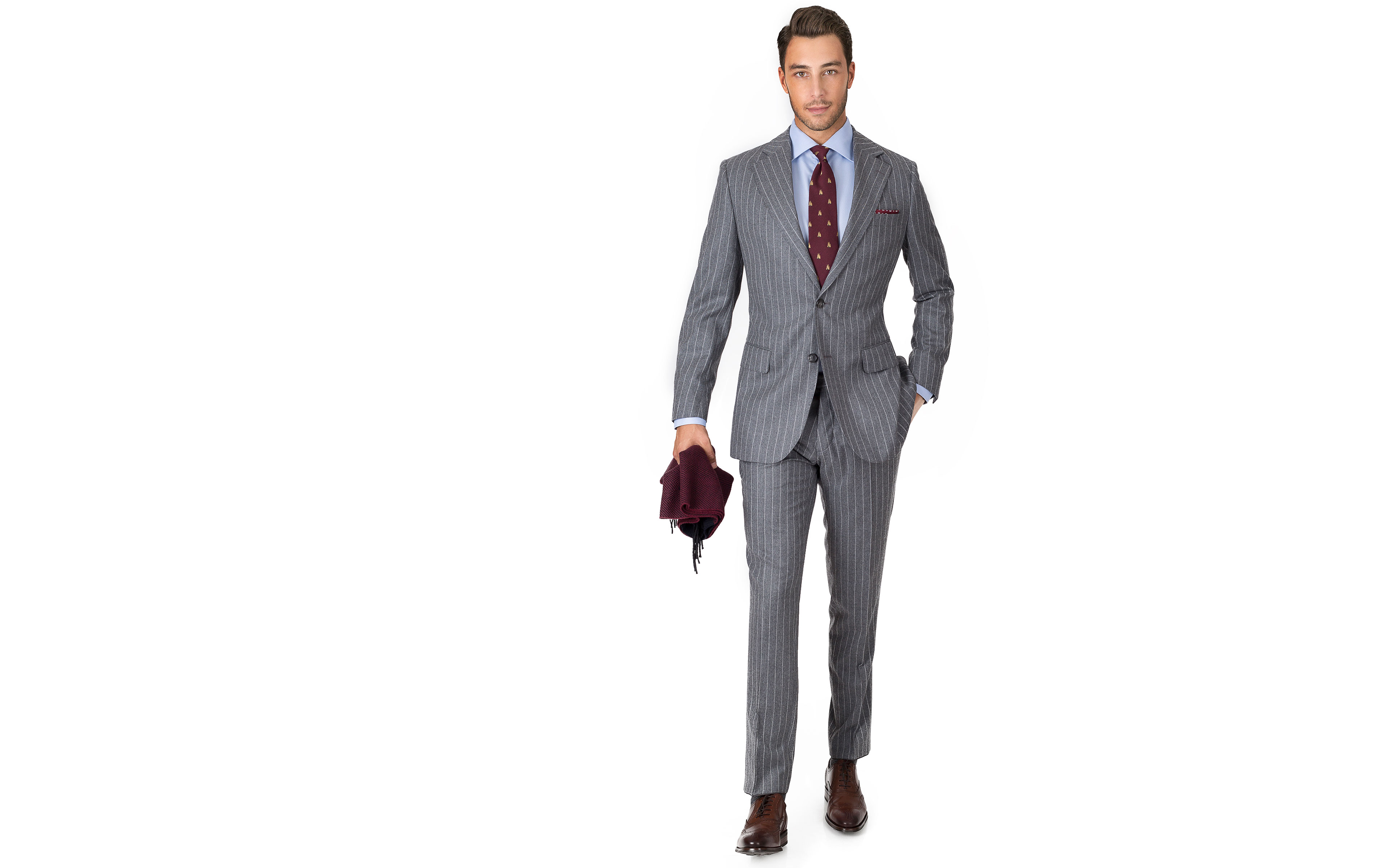 Grey Chalkstripe Wool Flannel Suit