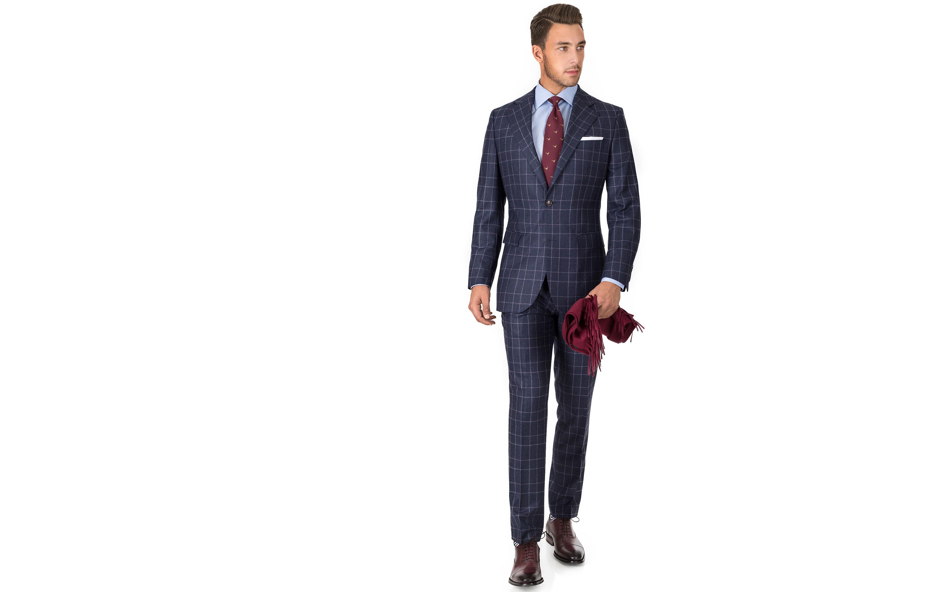 Blue Plaid Wool Flannel Suit