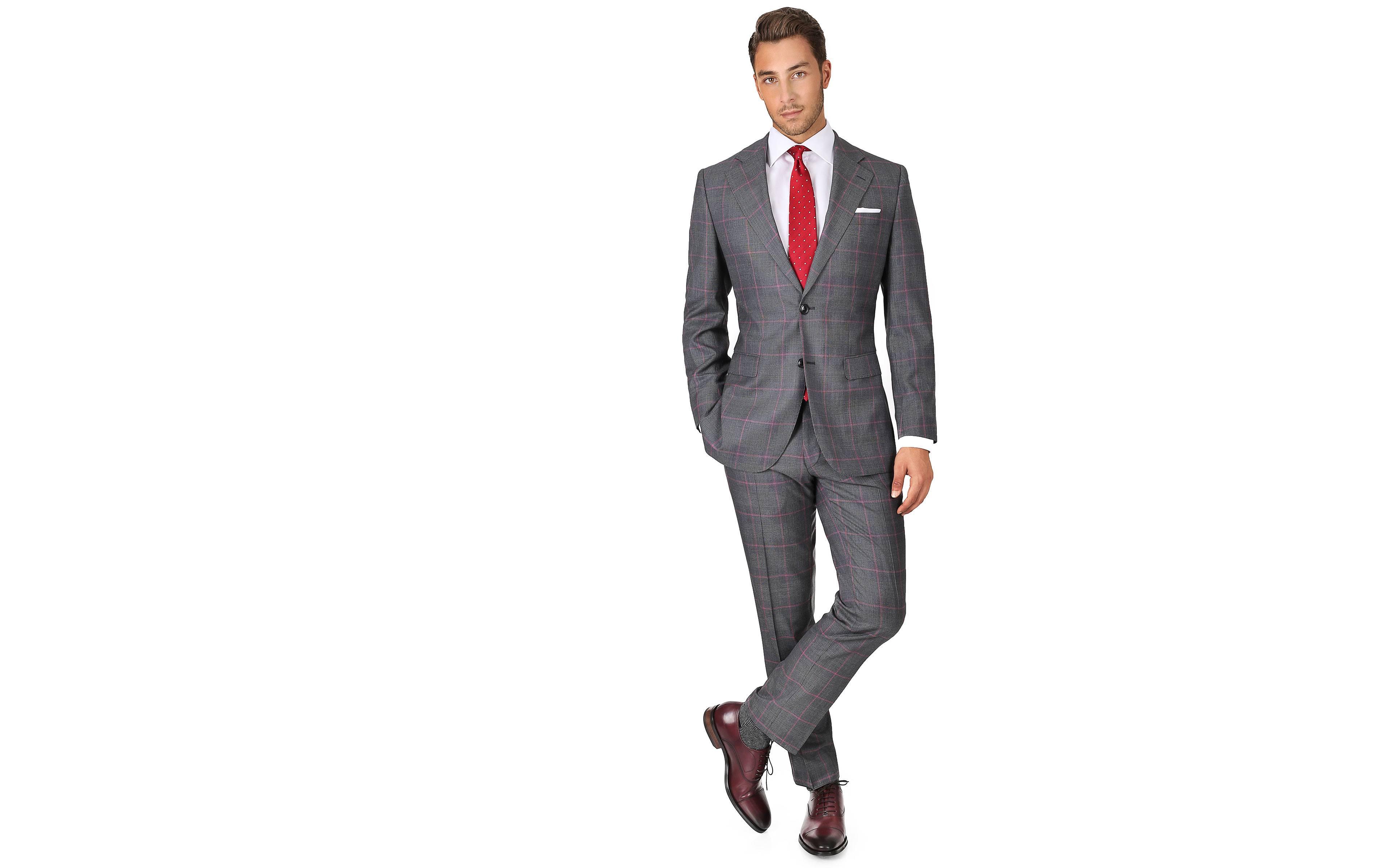 Vendetta Premium Grey & Coral Plaid Suit