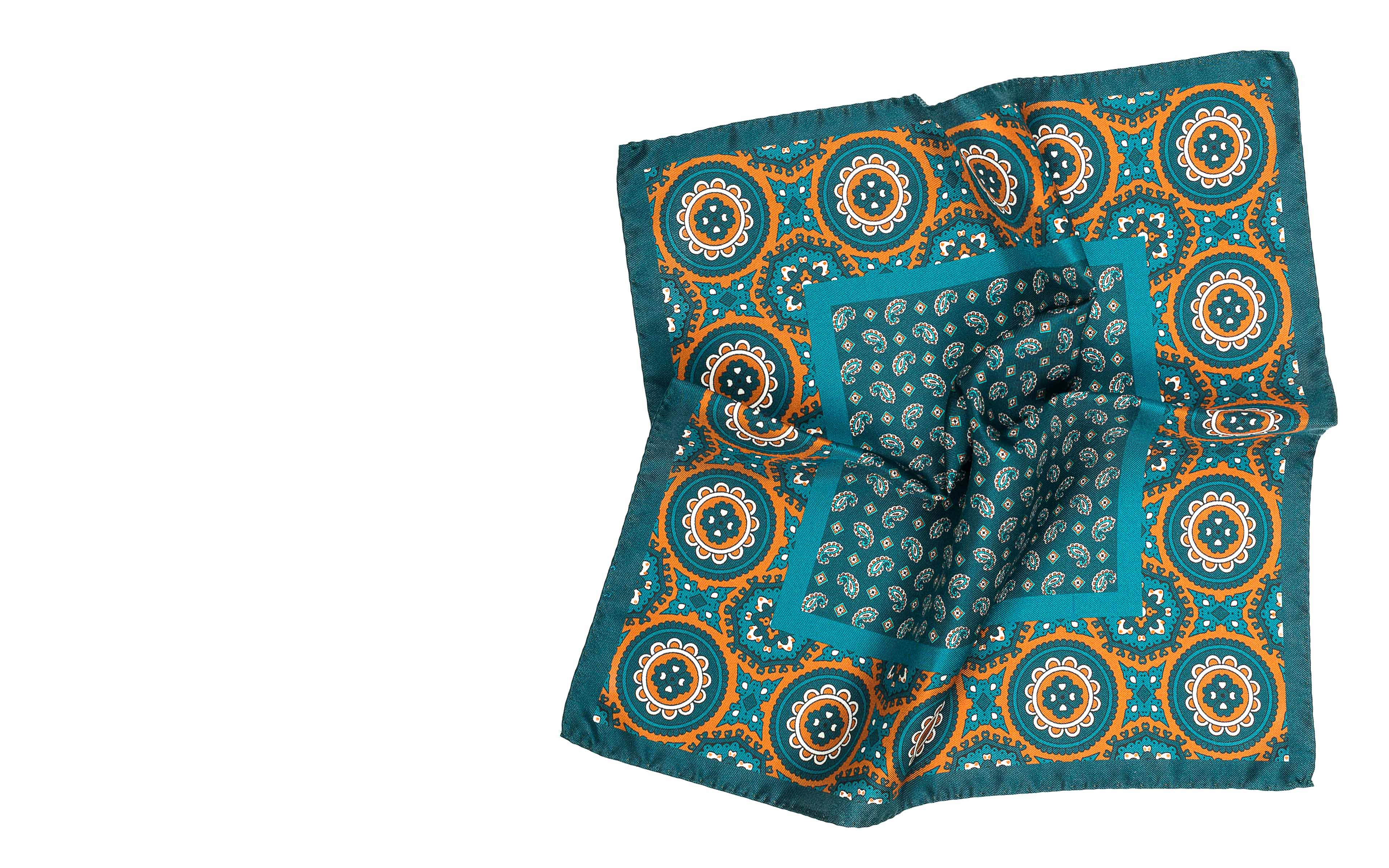 Green & Bronze Italian 100% Silk Pocket Square