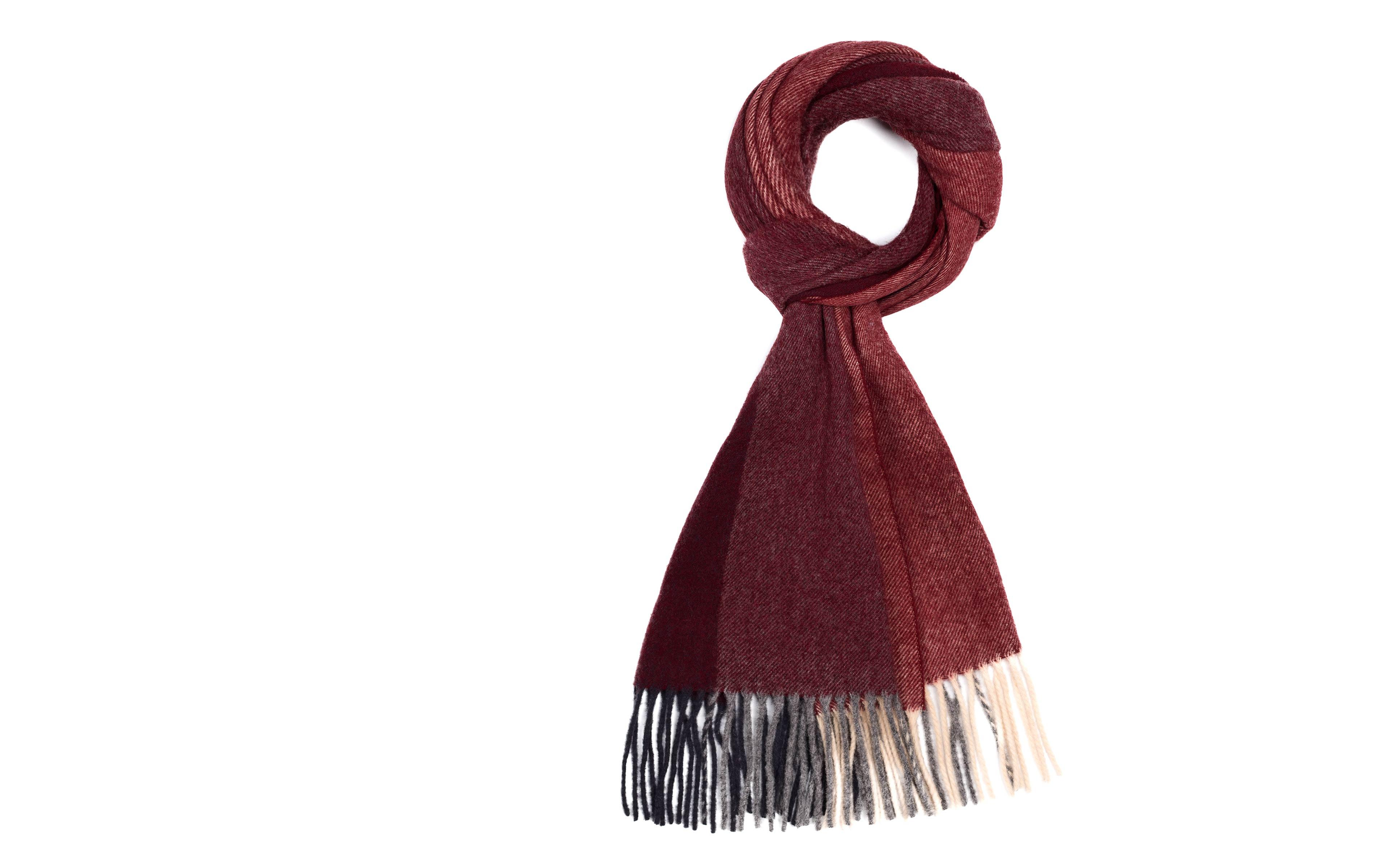 Red & Burgundy Striped Wool Scarf
