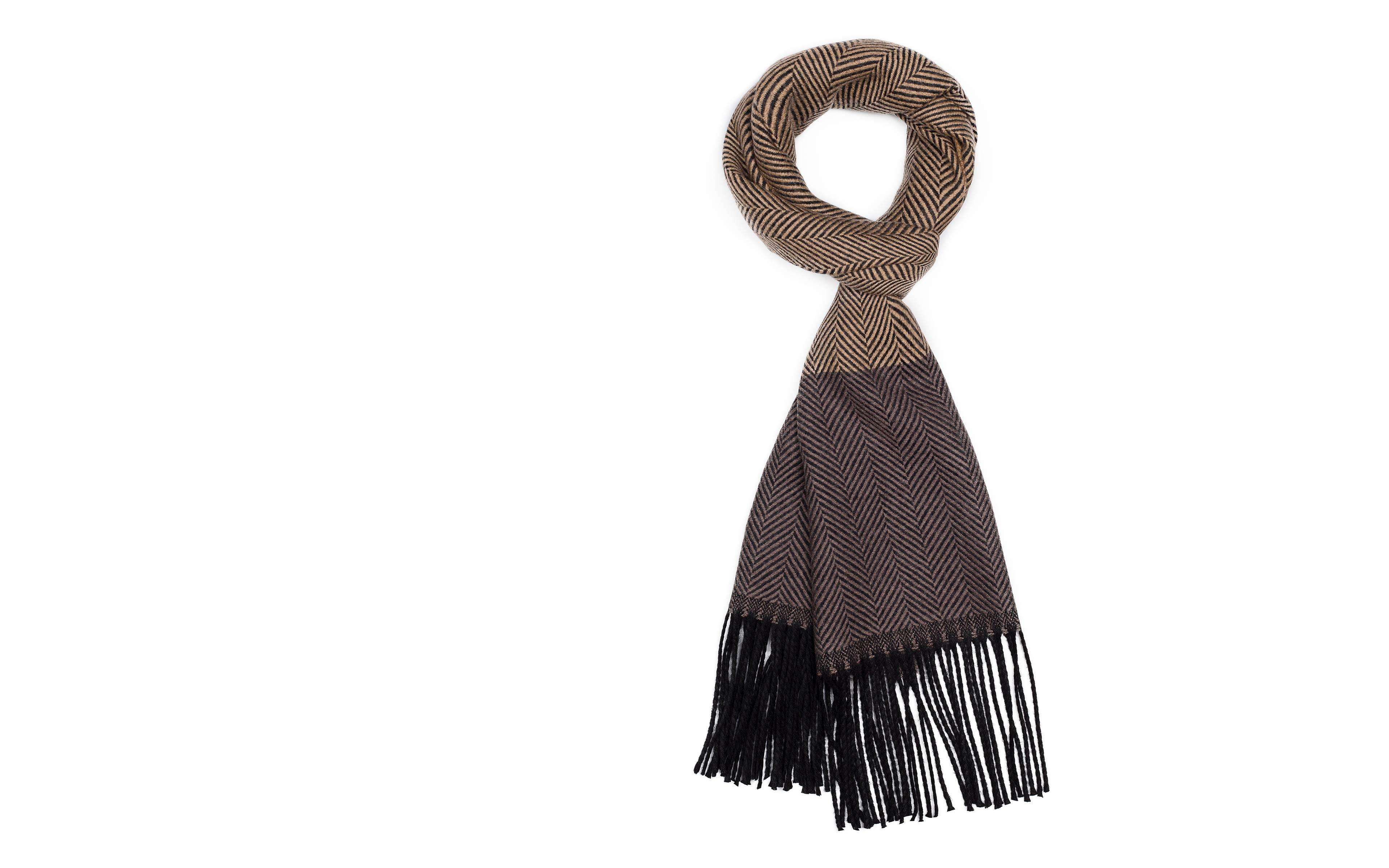 Sand & Brown Wool Scarf