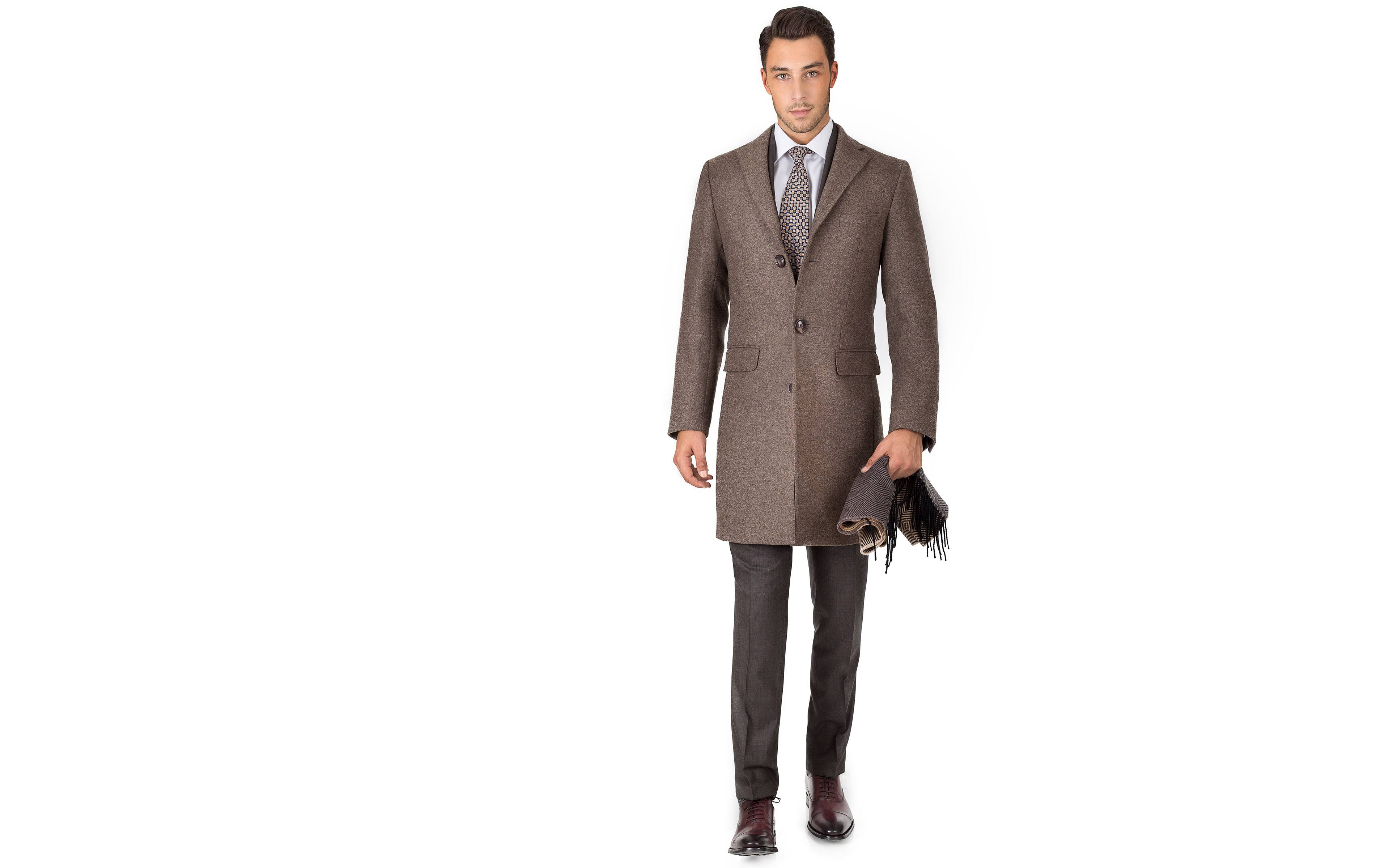 Coat in Brown Wool-Cashmere