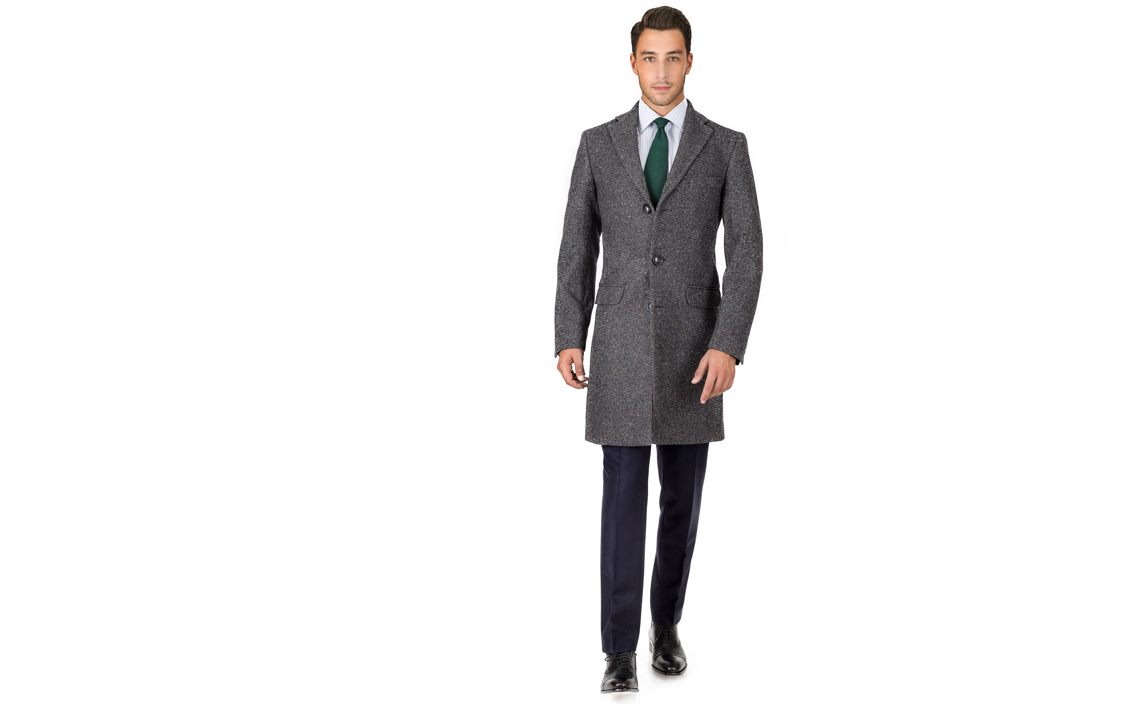 Coat in Charcoal Donegal Wool