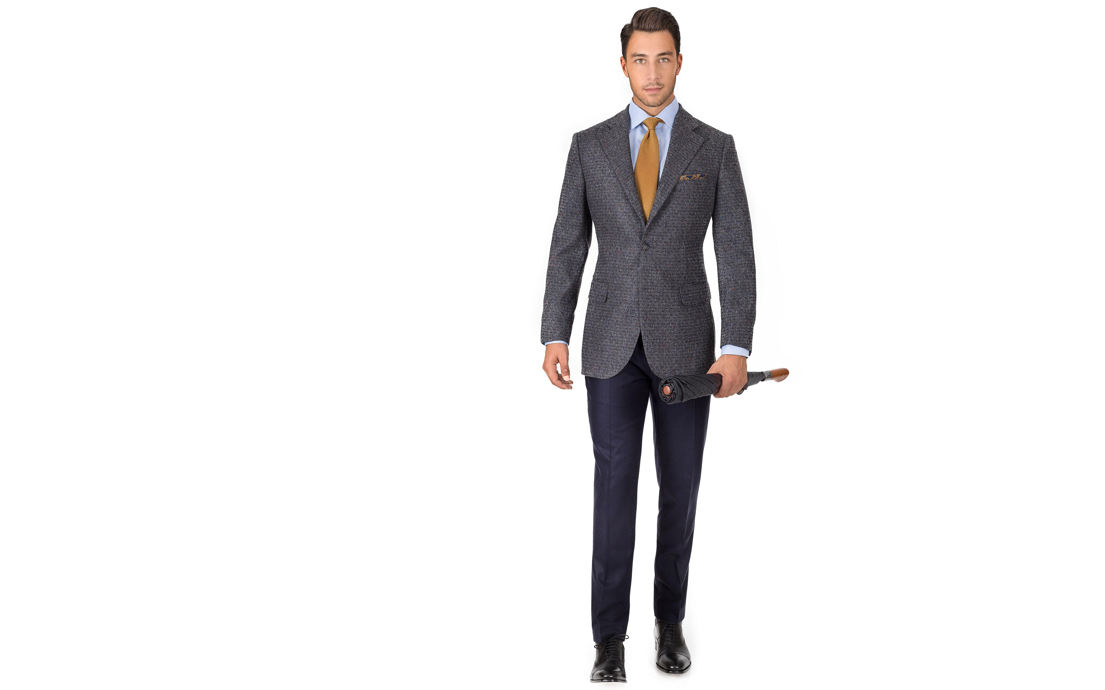 Dark Grey Donegal Shadow Tweed Blazer