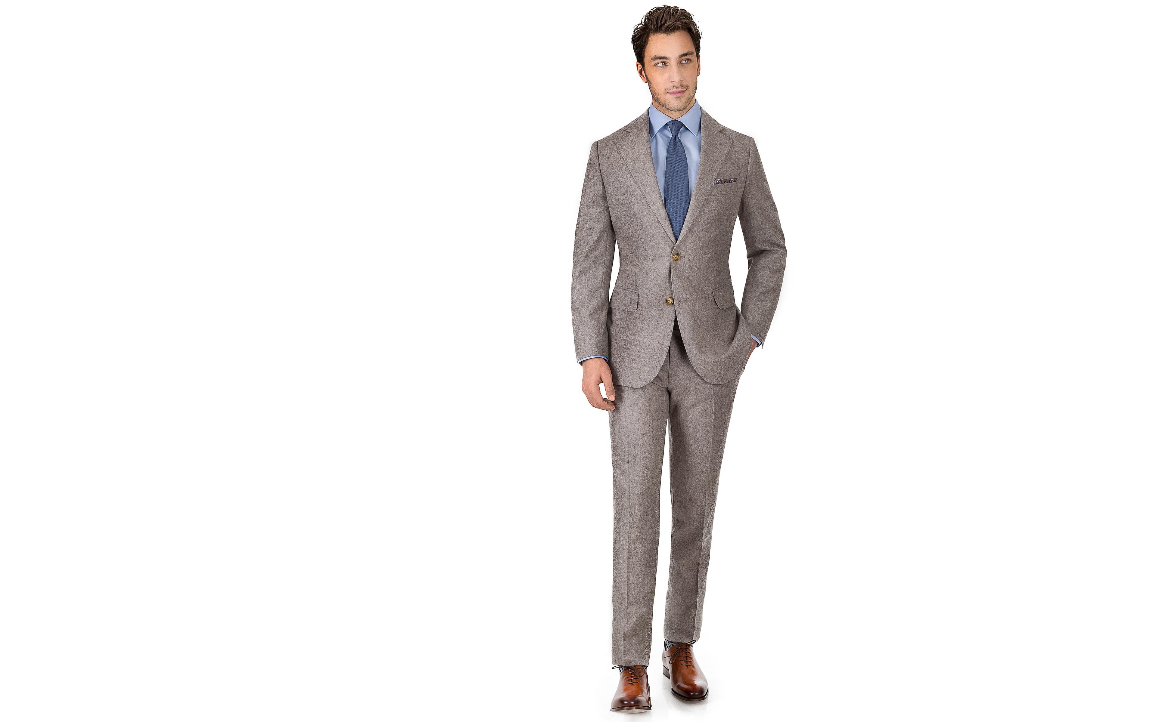 Light Brown Wool Flannel Suit