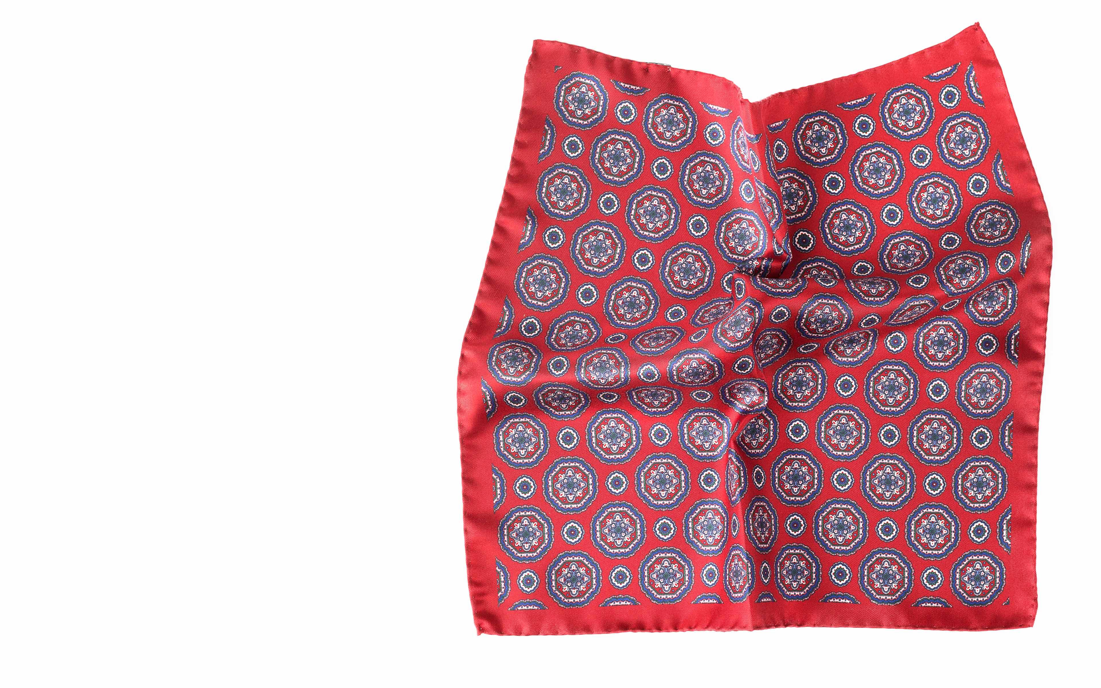 Red & Blue Shapes Italian 100% Silk Pocket Square