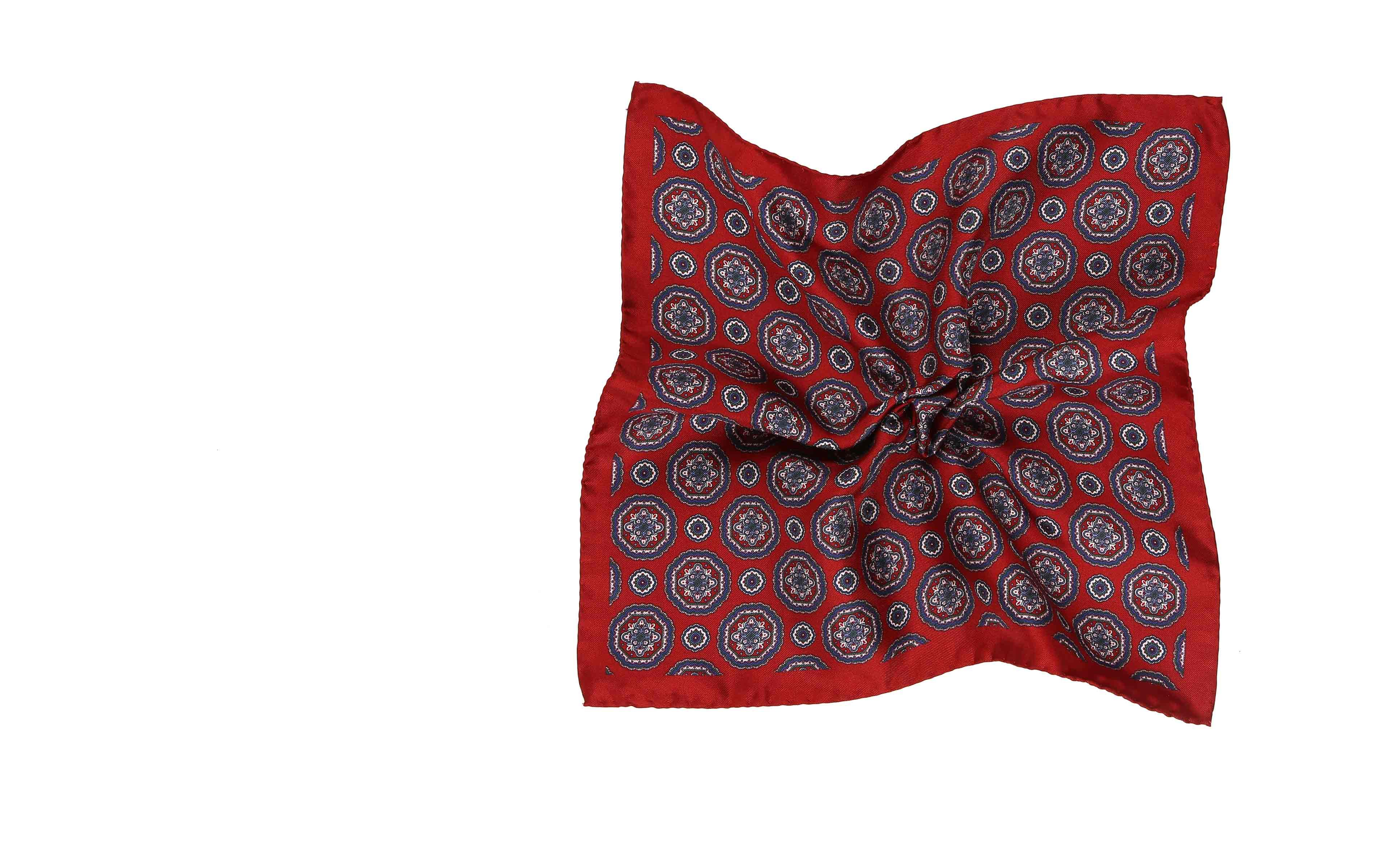Red & Blue Shapes Italian 100% Silk Pocket Square