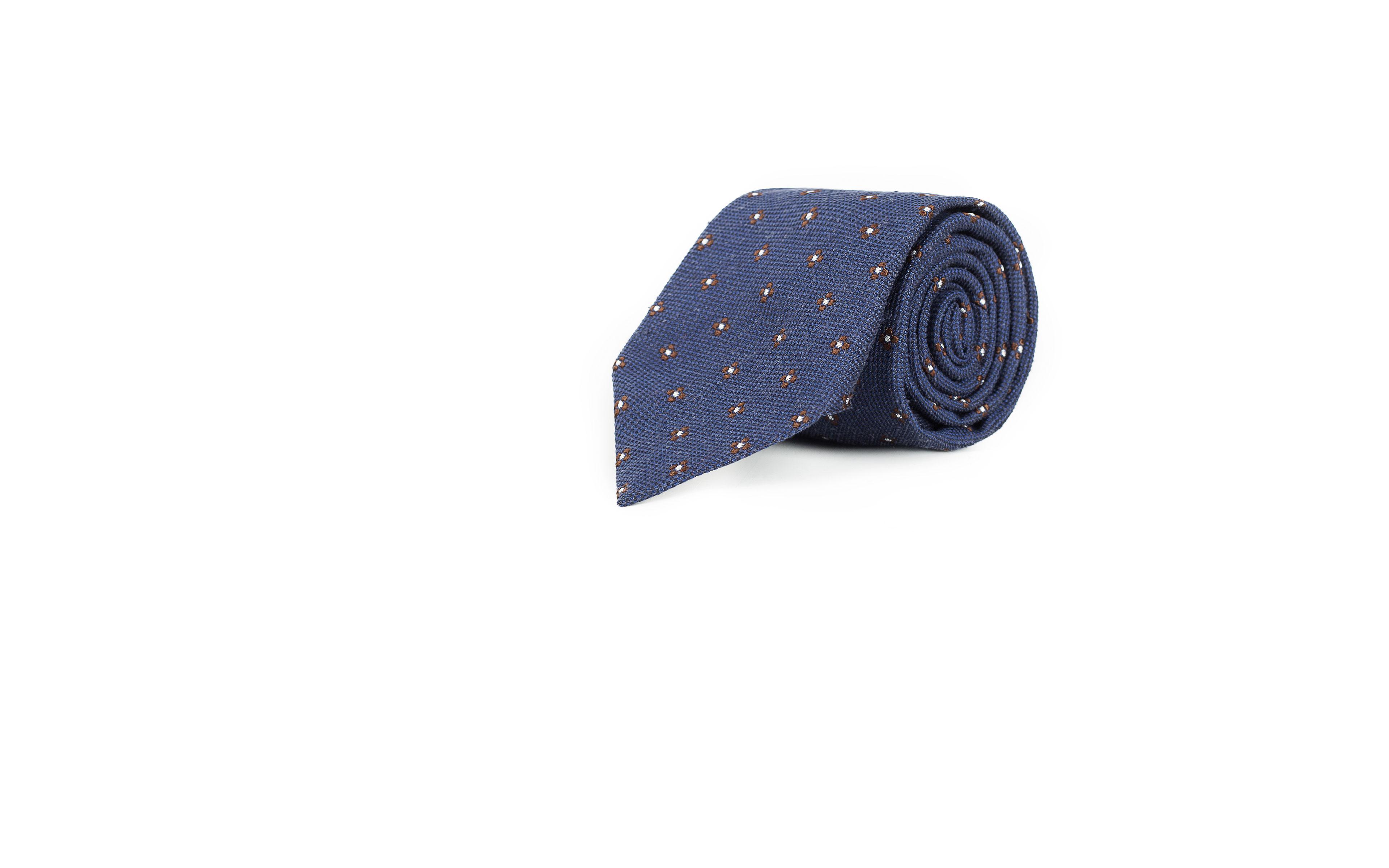Blue Floral Bourette Silk Tie