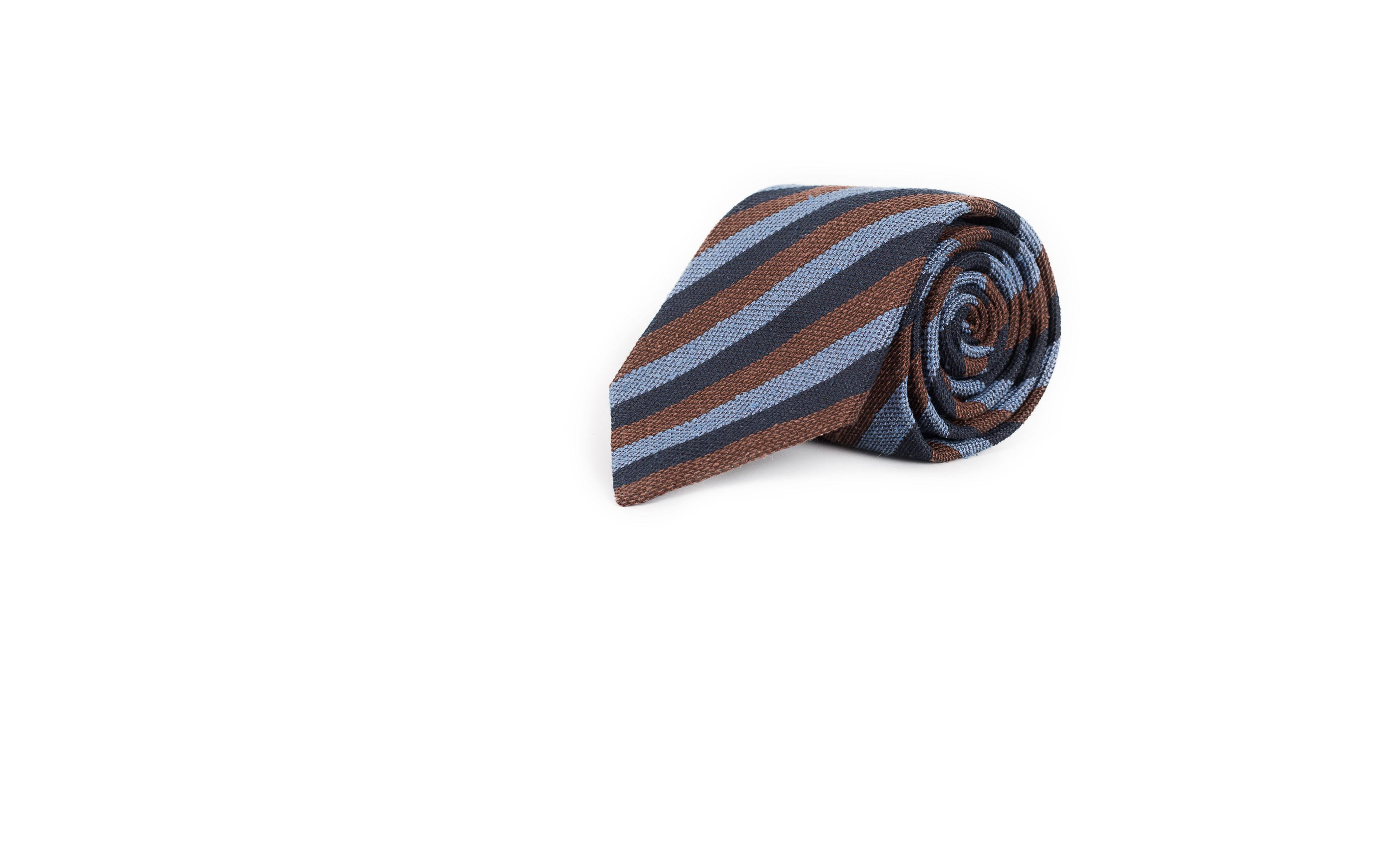 Navy, Brown & Sky Blue Bourette Silk Tie