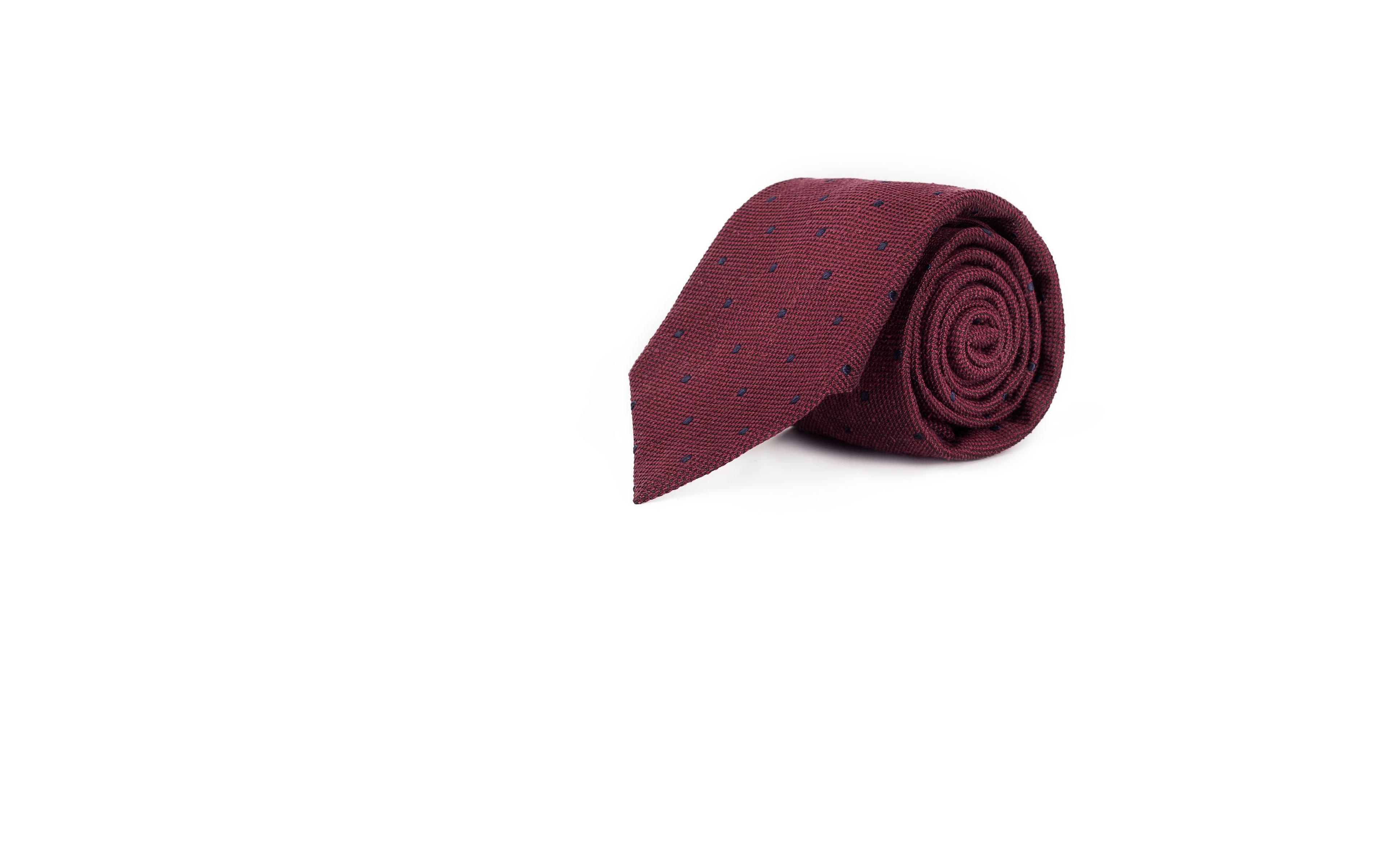 Red Dotted Bourette Silk Tie