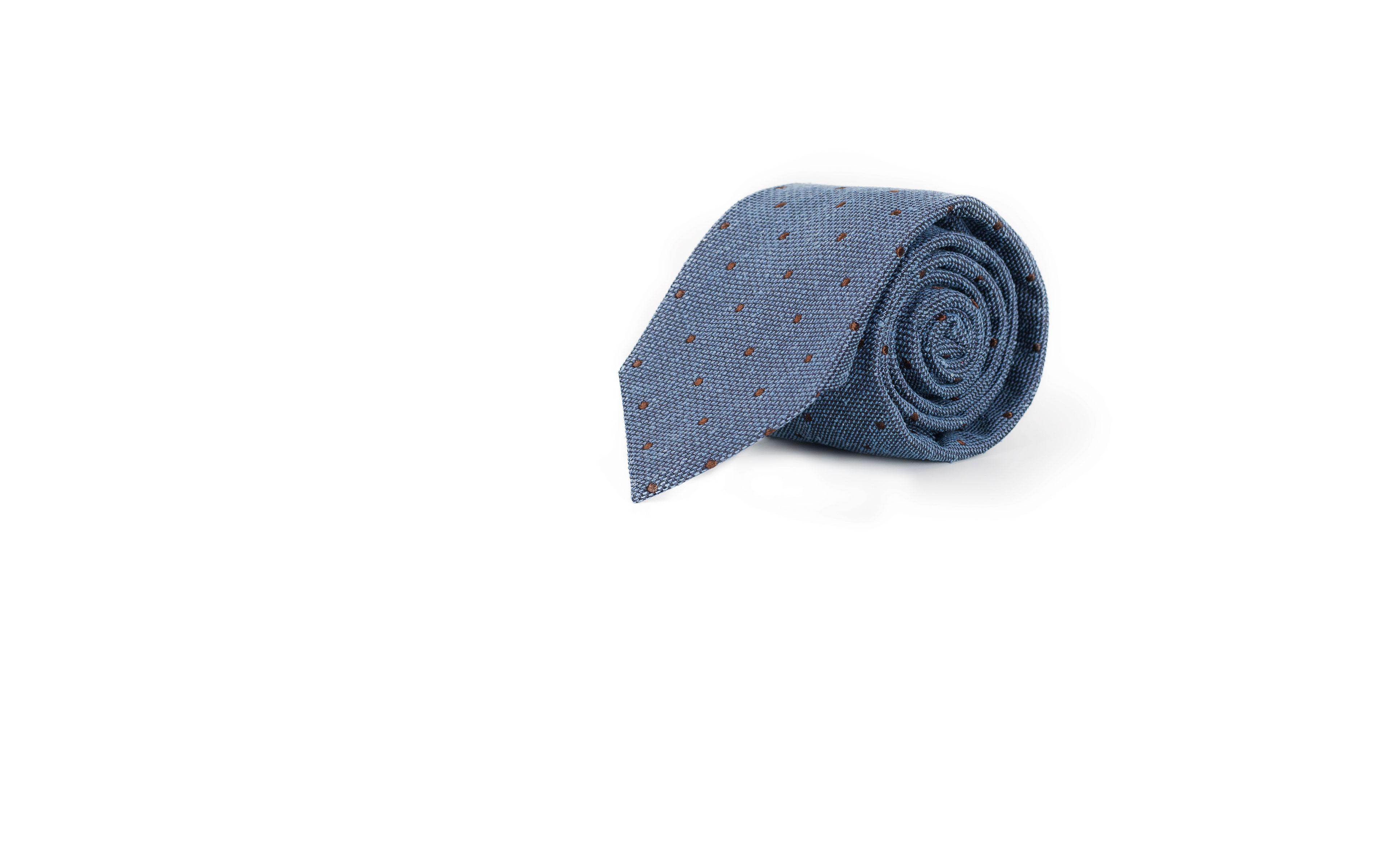 Light Blue Dotted Bourette Silk Tie
