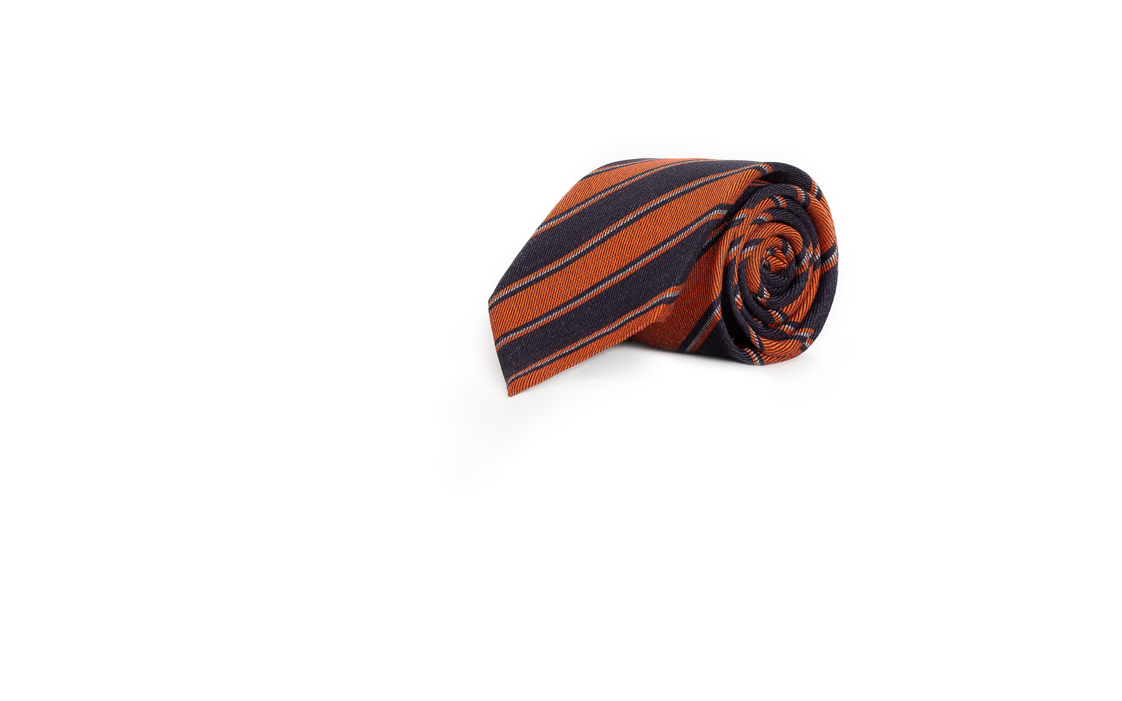 Blue & Copper Striped Wool & Silk Tie