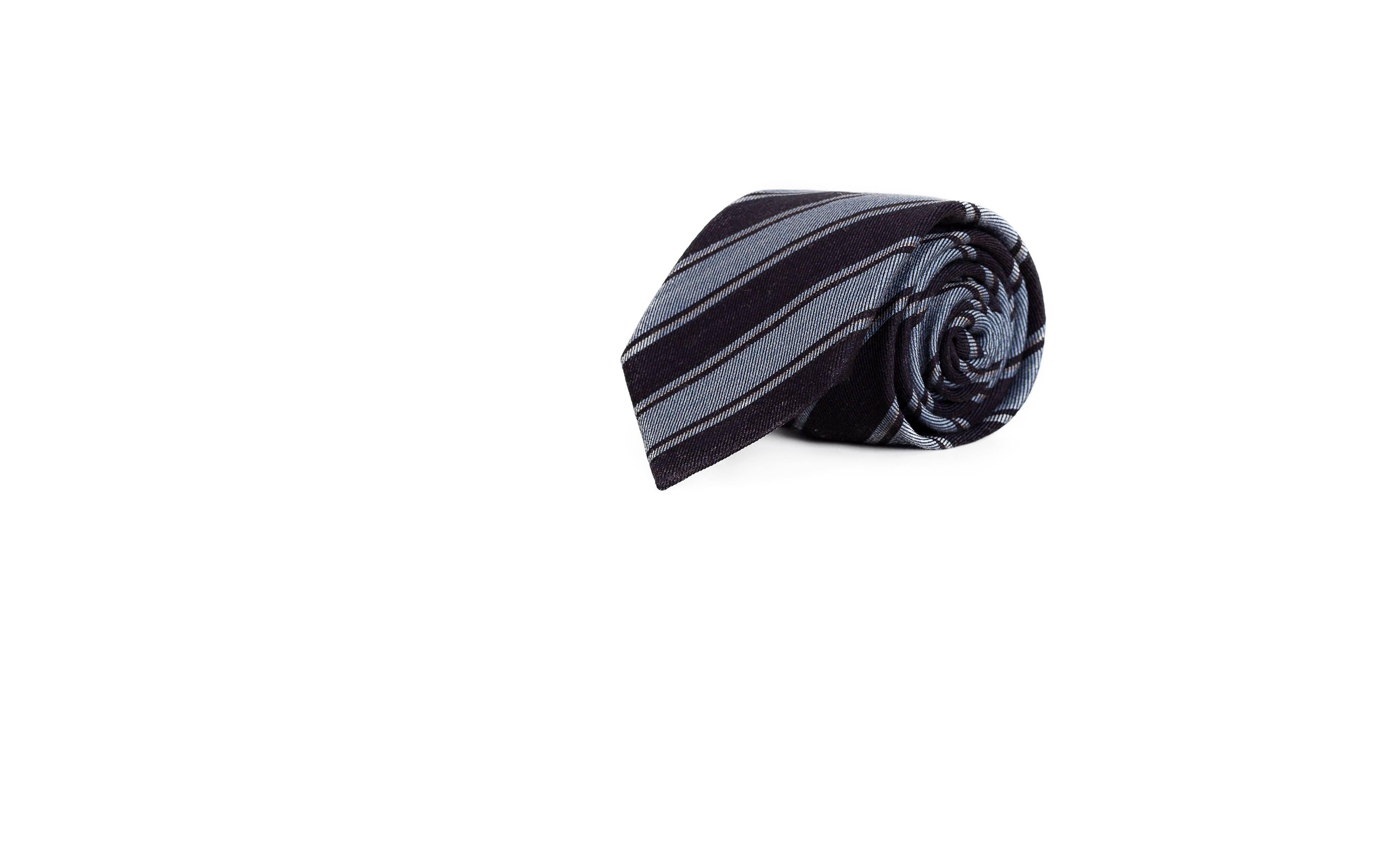 Blue & Sky Blue Striped Wool & Silk Tie