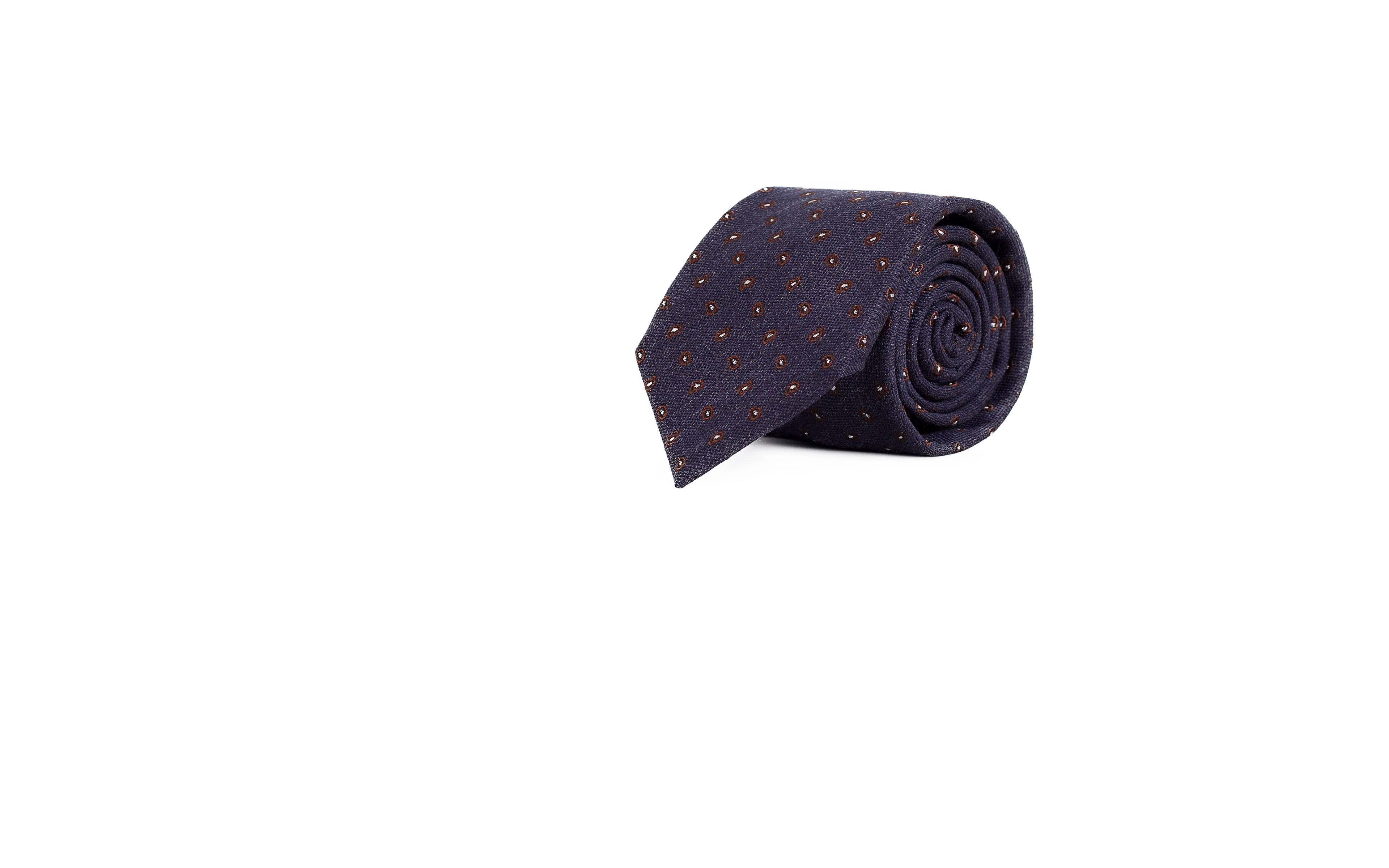 Blue & Brown Paisley Wool & Silk Tie
