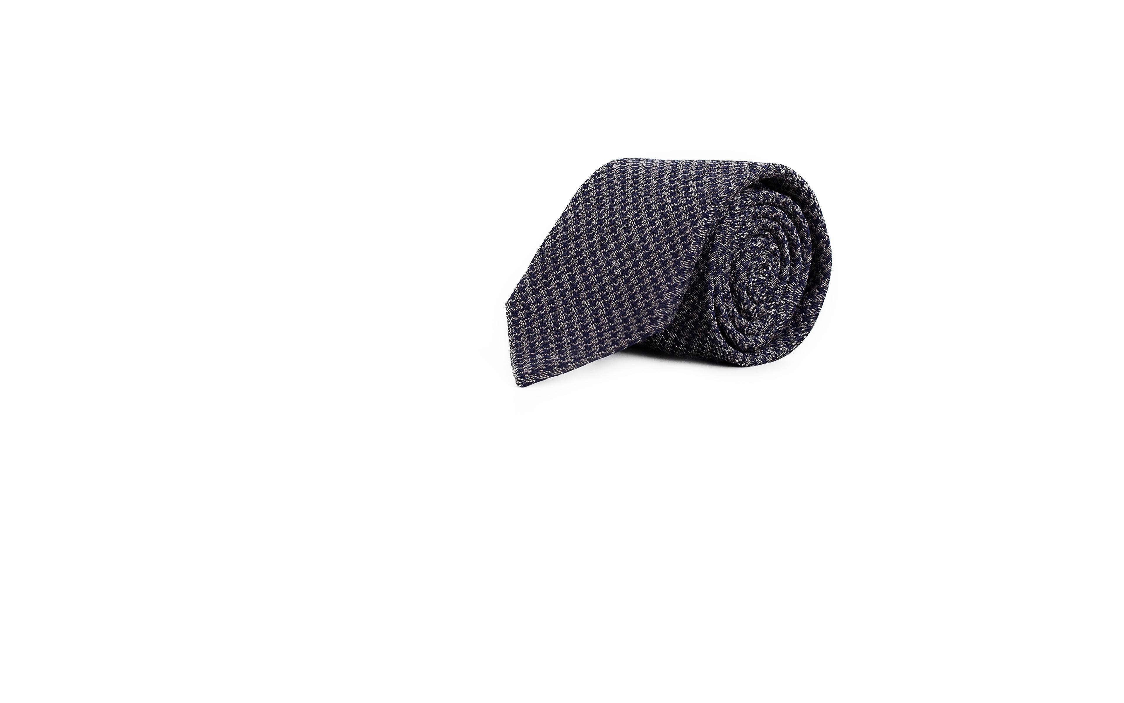 Blue & Grey Houndstooth Wool Tie
