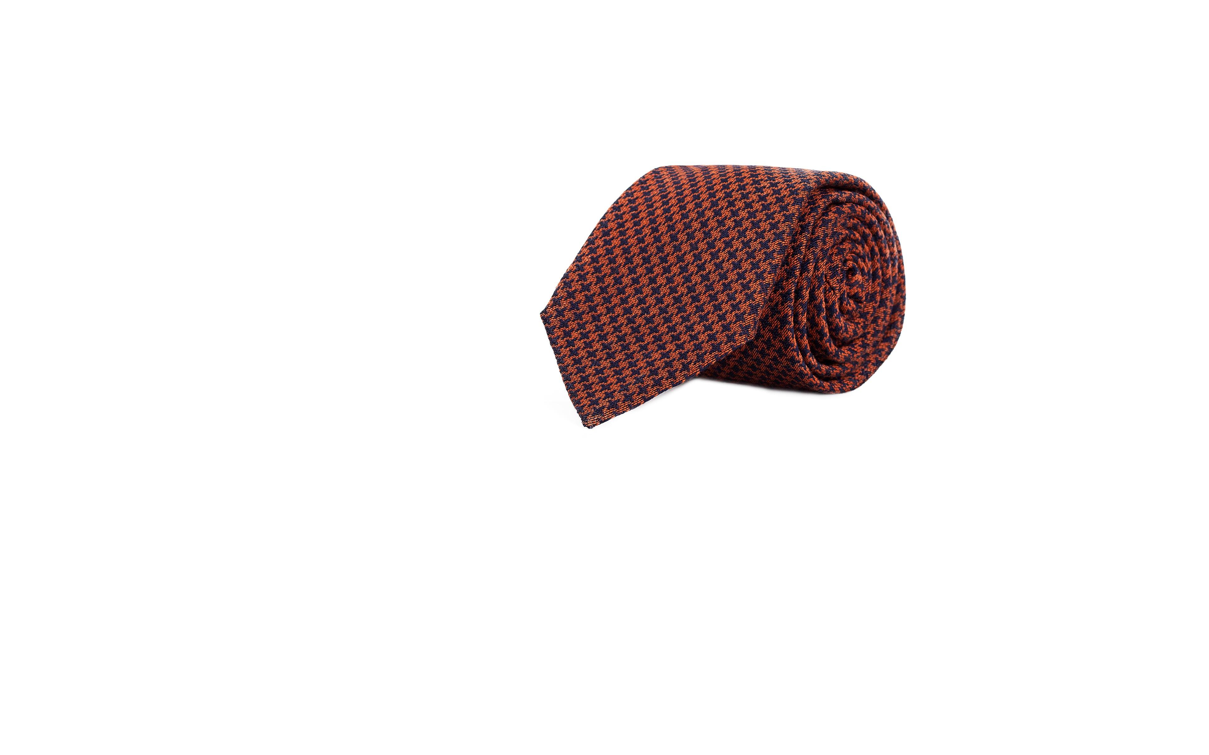 Copper & Blue Houndstooth Wool Tie