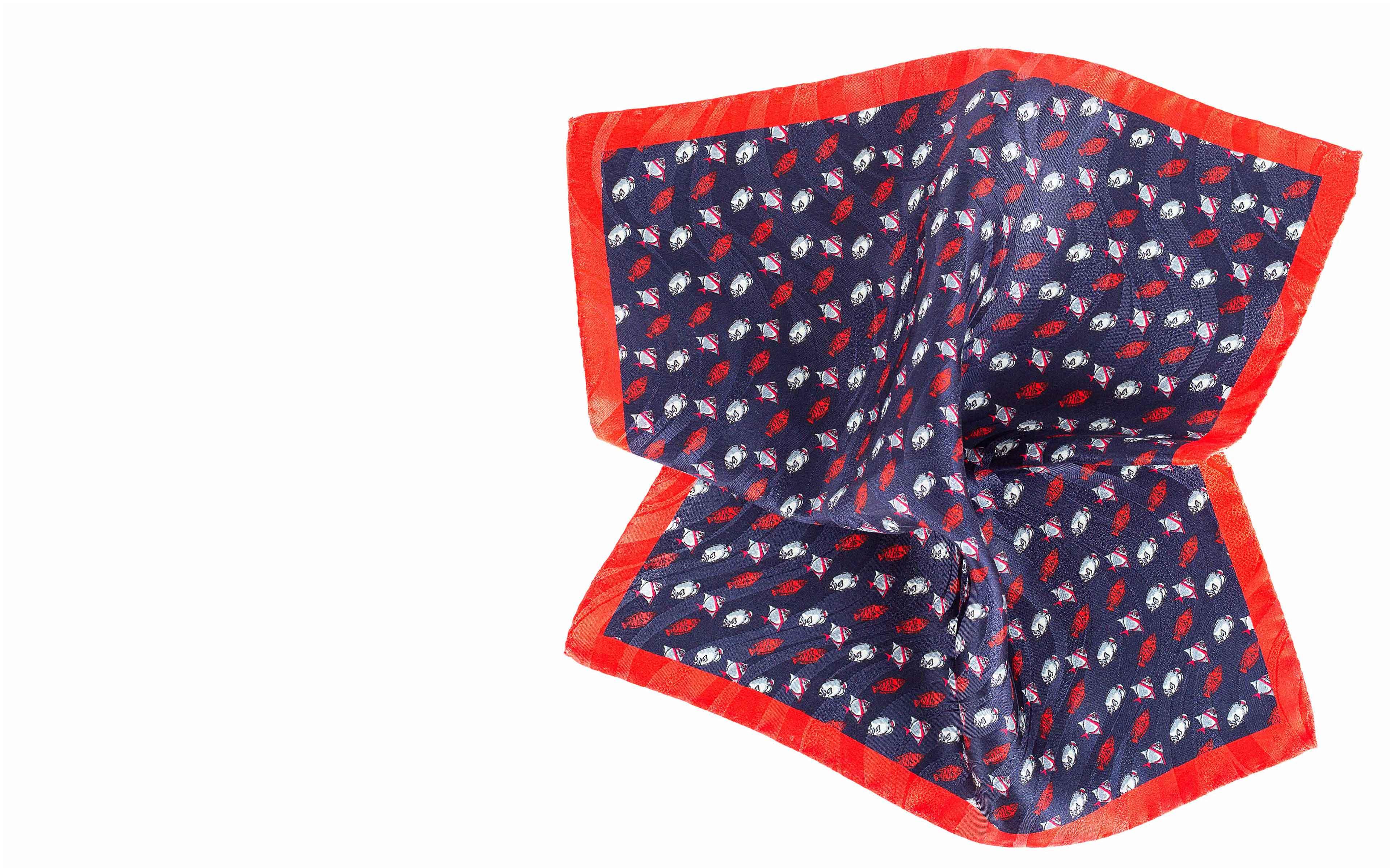 Blue & Red Fish Print Pocket Square