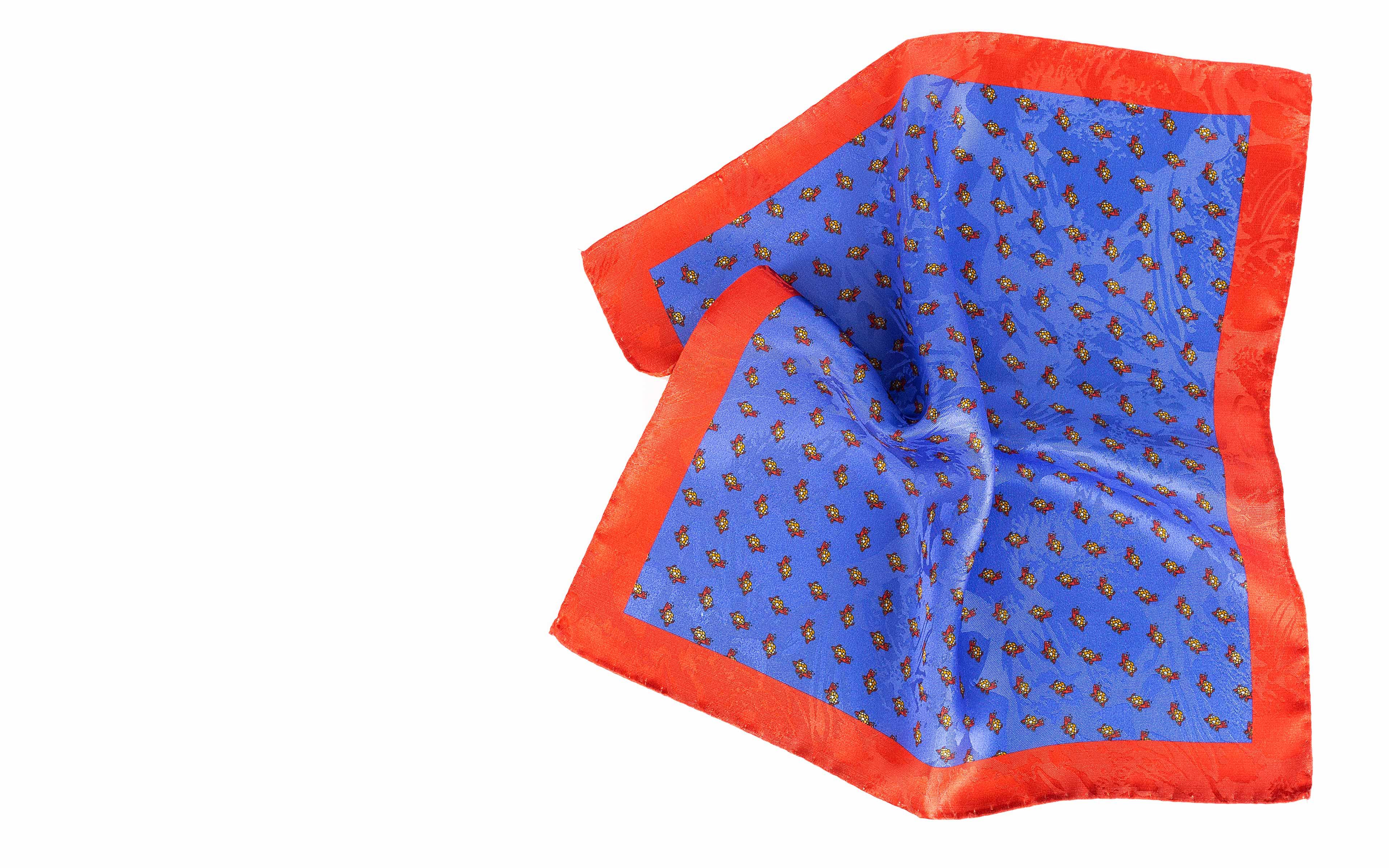 Indigo, Brick Red & Yellow Turtle Print Pocket Square