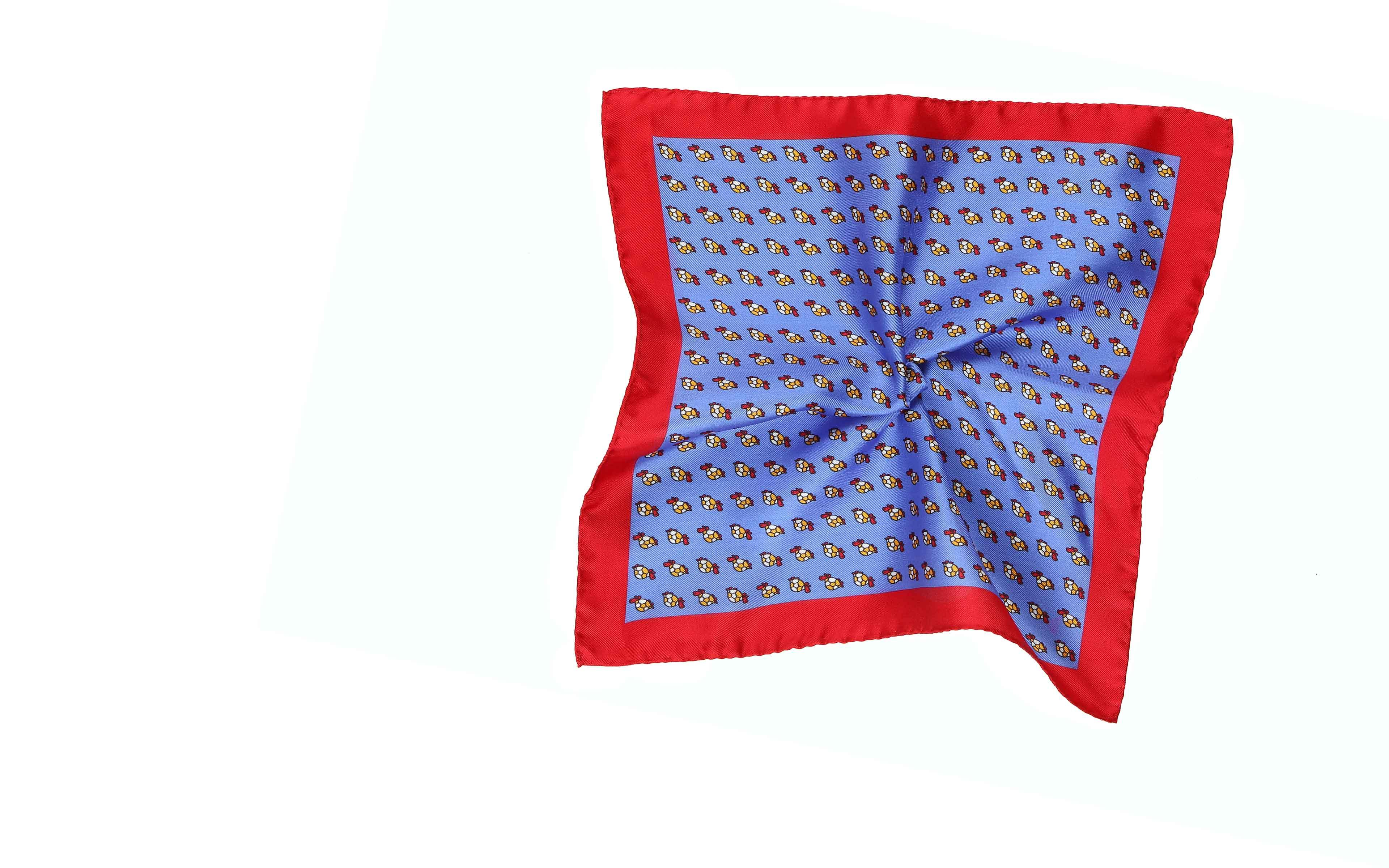 Blue, Brick Red & Yellow Turtle Print Pocket Square
