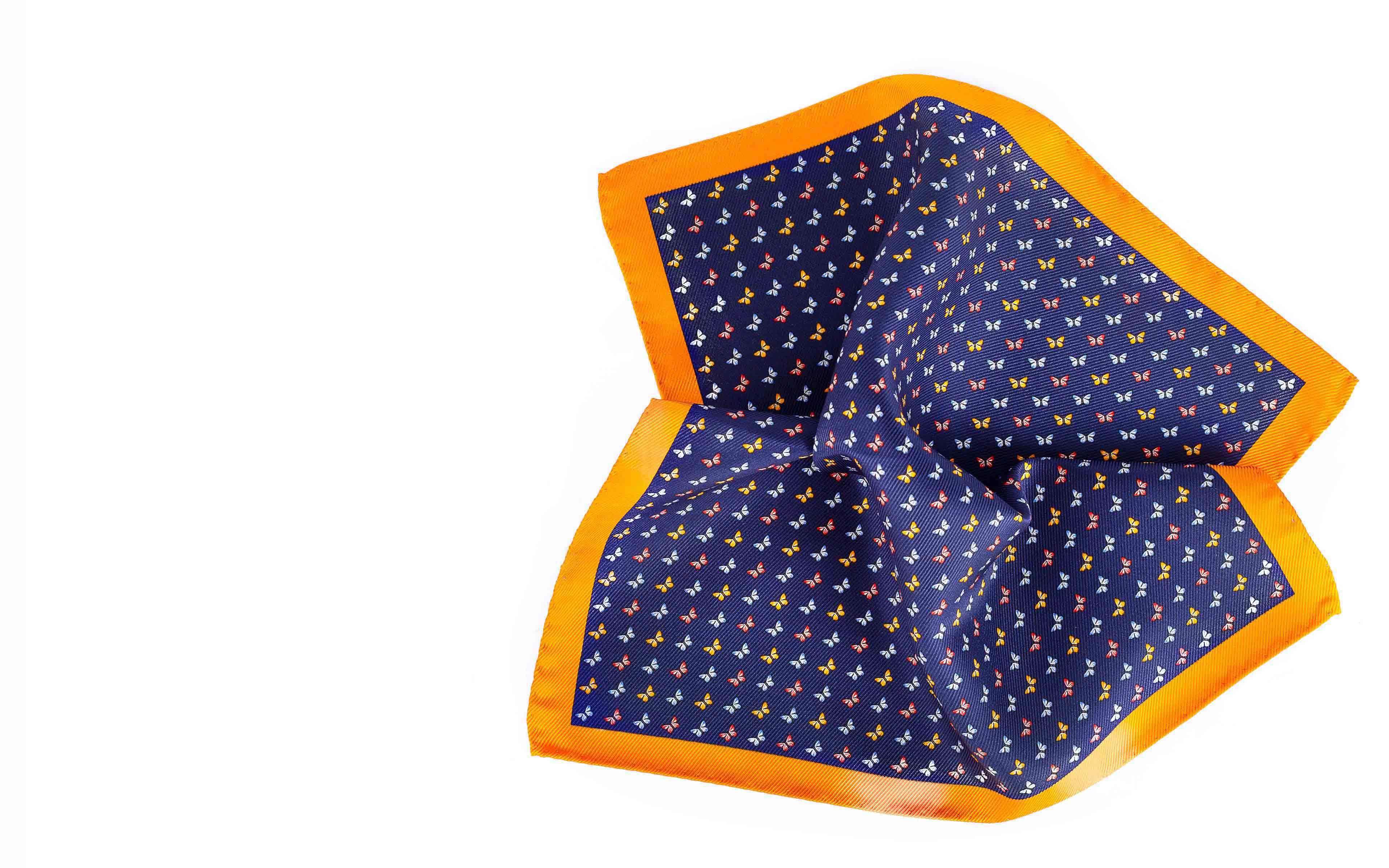 Orange & Blue Butterflies Print Pocket Square