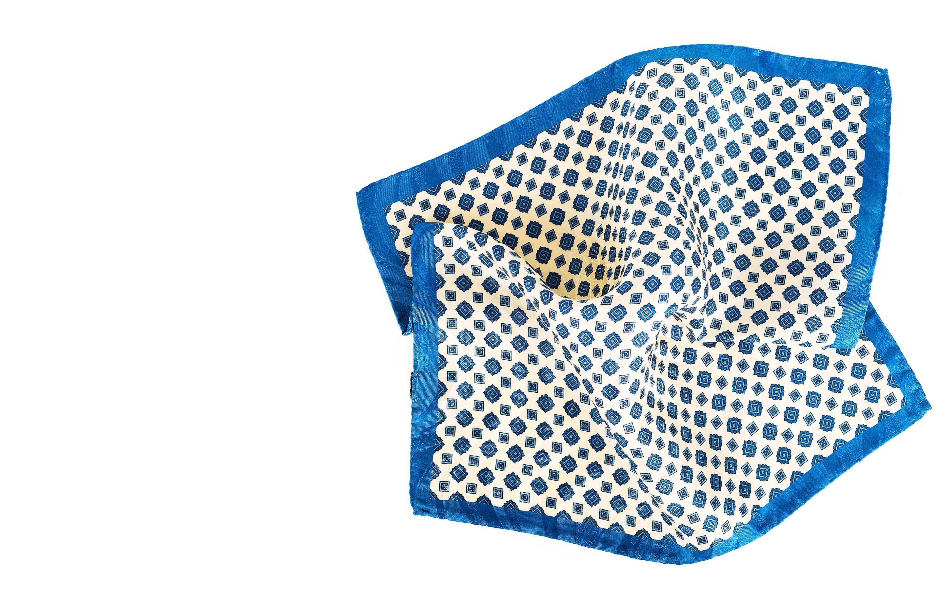 Ivory & Denim Blue Pocket Square