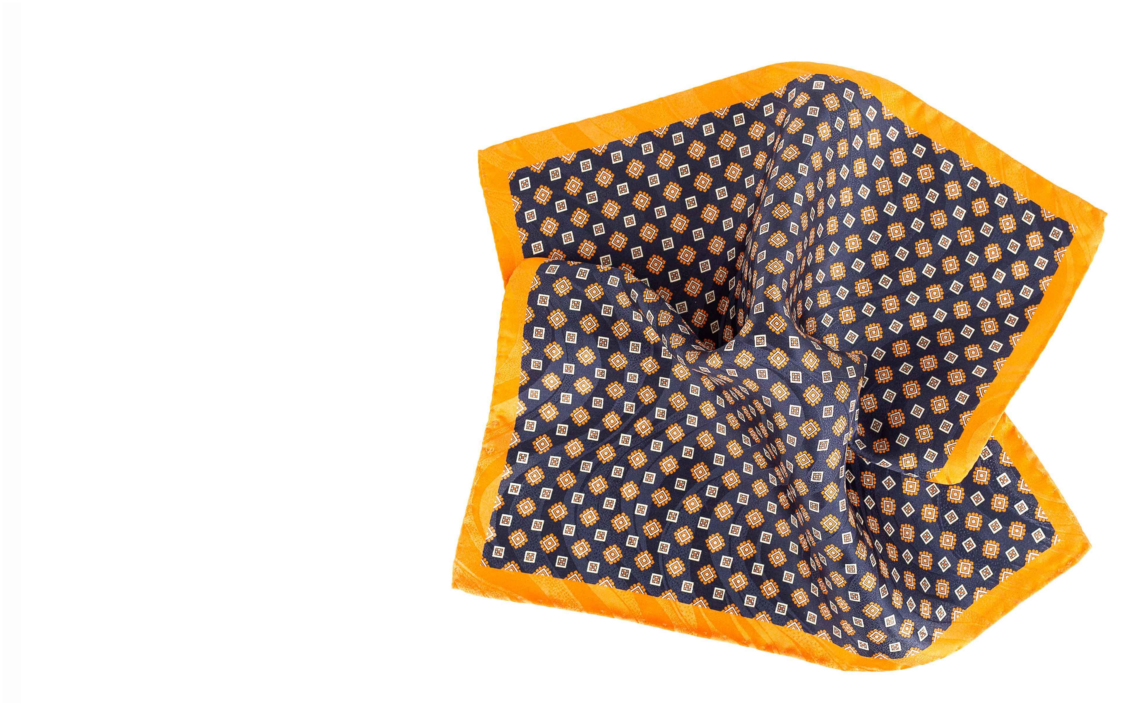 Navy & Orange Pocket Square